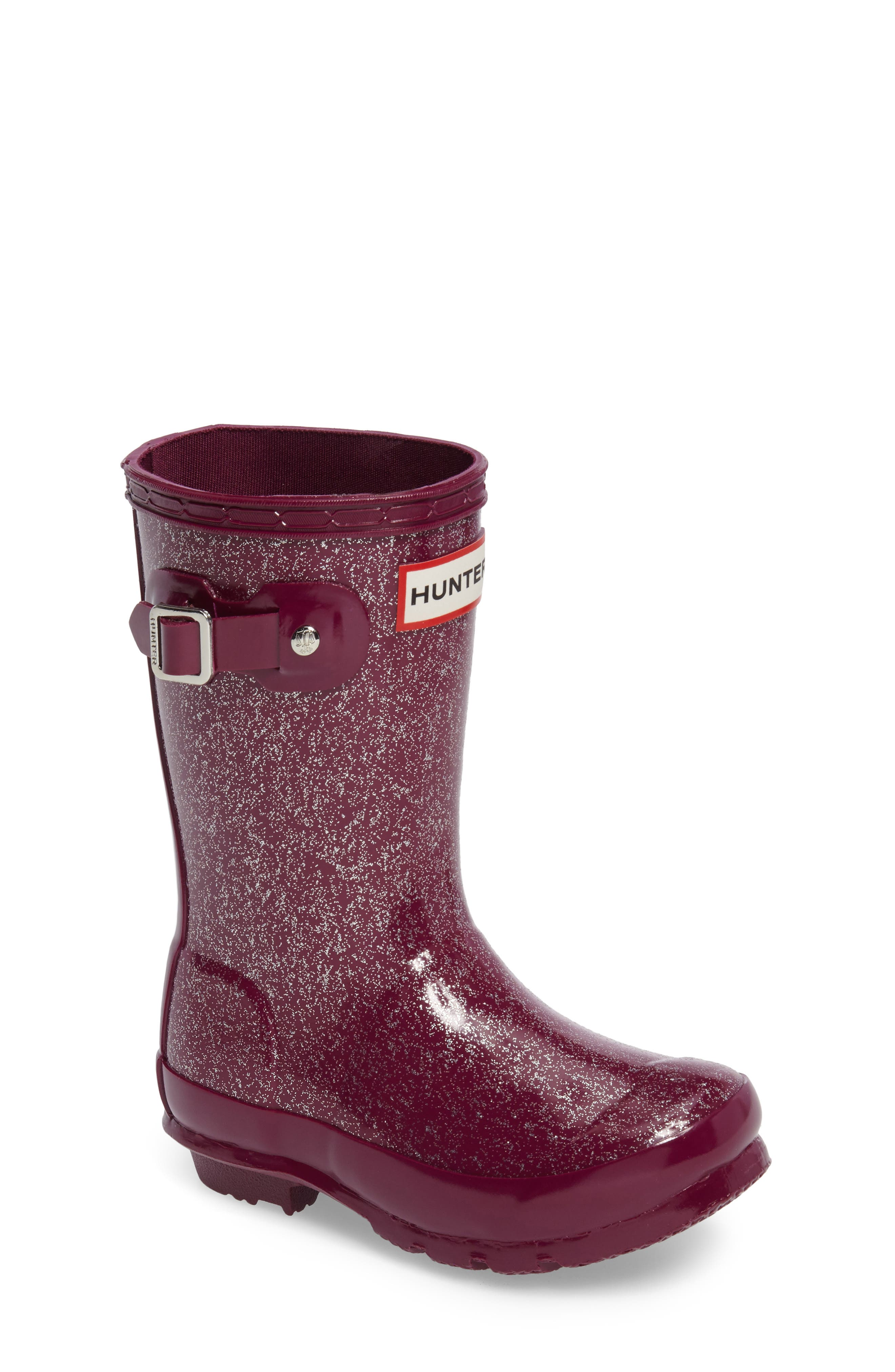 'Original Glitter' Rain Boot,                             Main thumbnail 1, color,                             Bright Violet