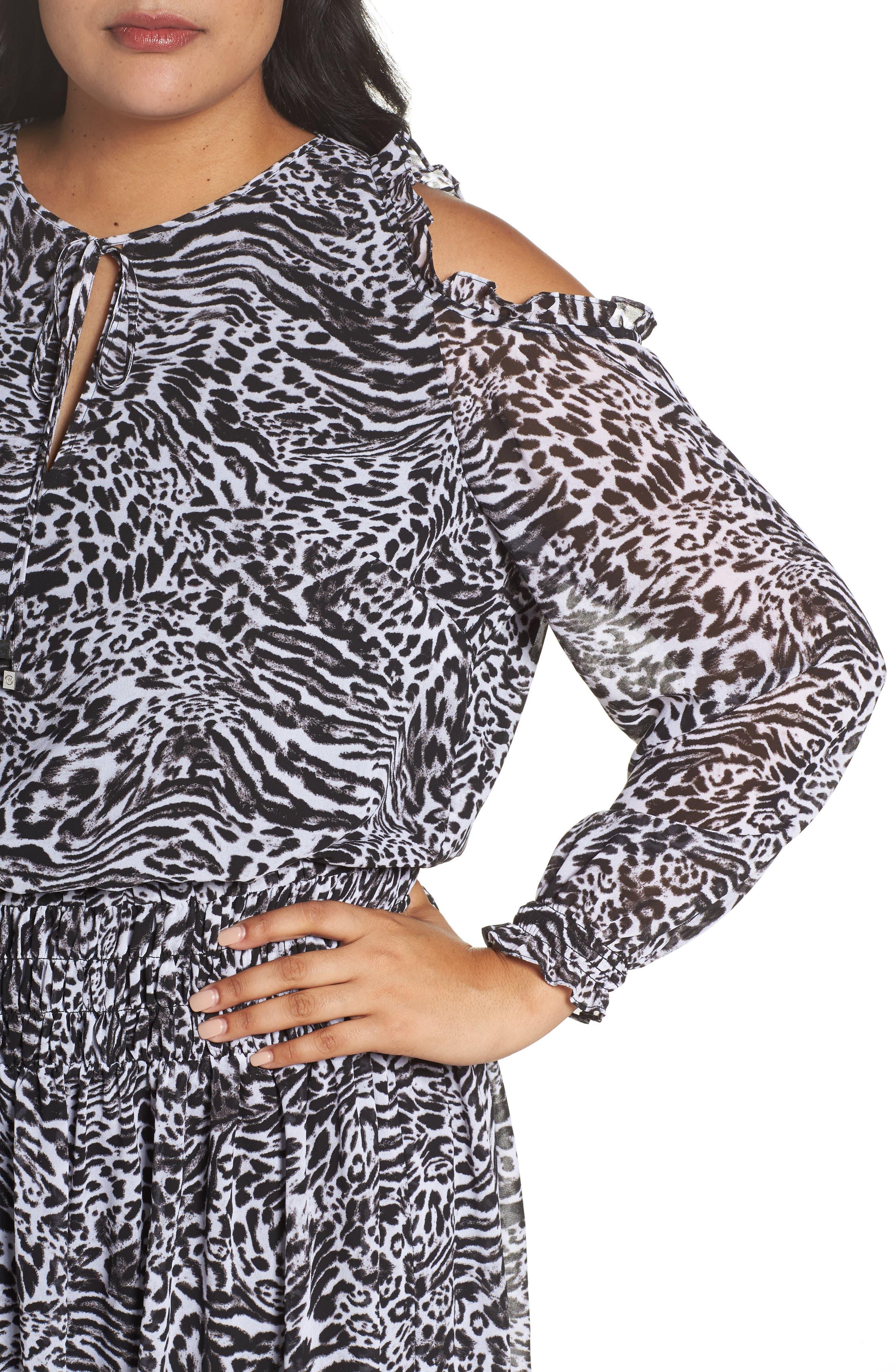 Big Cat Print Cold Shoulder Dress,                             Alternate thumbnail 4, color,                             Black