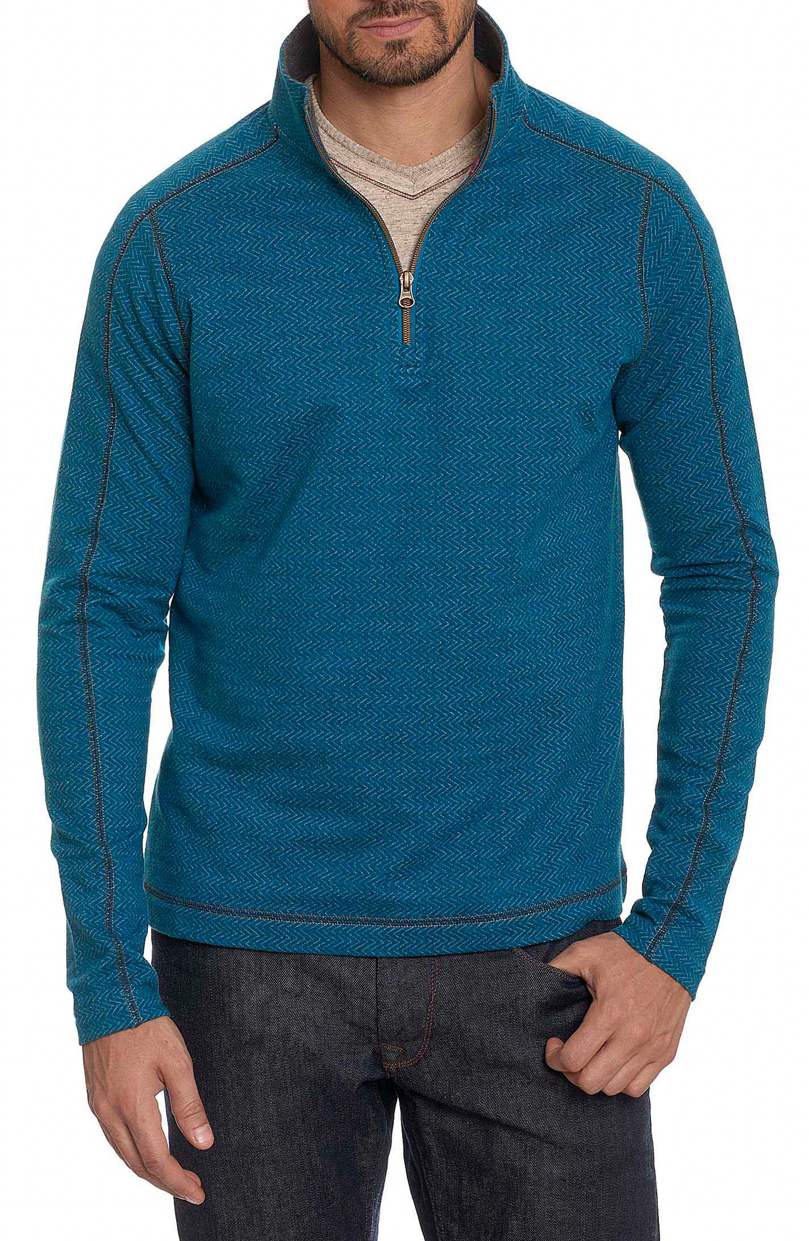 Warrensburg Herringbone Quarter Zip Pullover,                         Main,                         color, Heather Teal