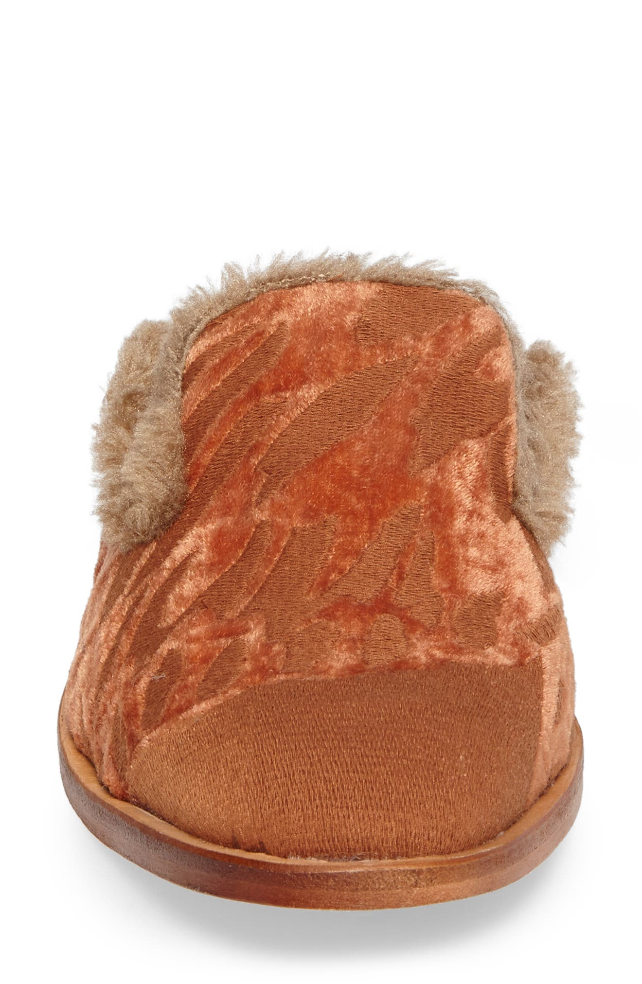 Butterfly Faux Fur Lined Mule,                             Alternate thumbnail 4, color,                             Orange Combo
