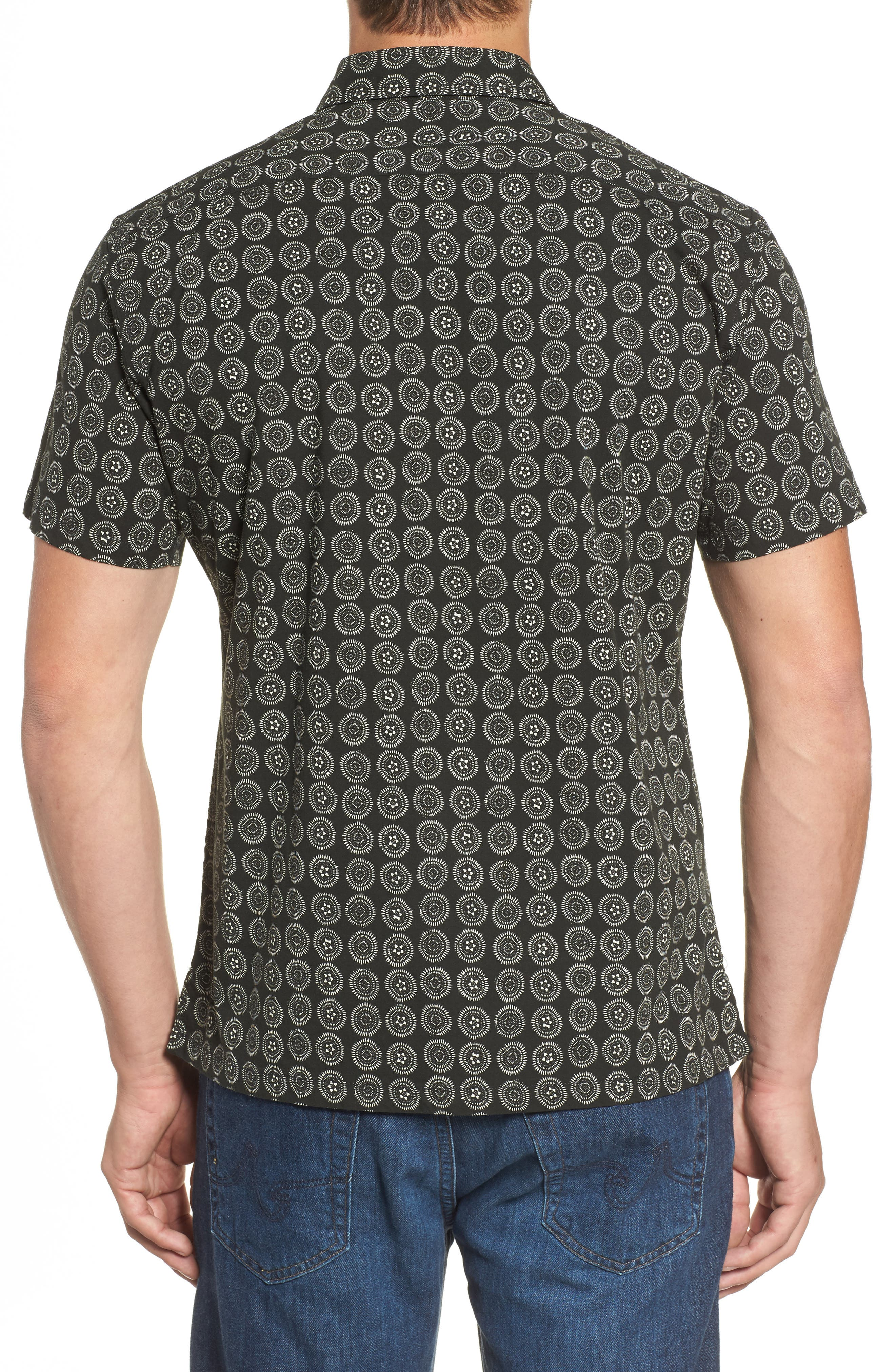 Sea Crest Slim Fit Print Camp Shirt,                             Alternate thumbnail 2, color,                             Black