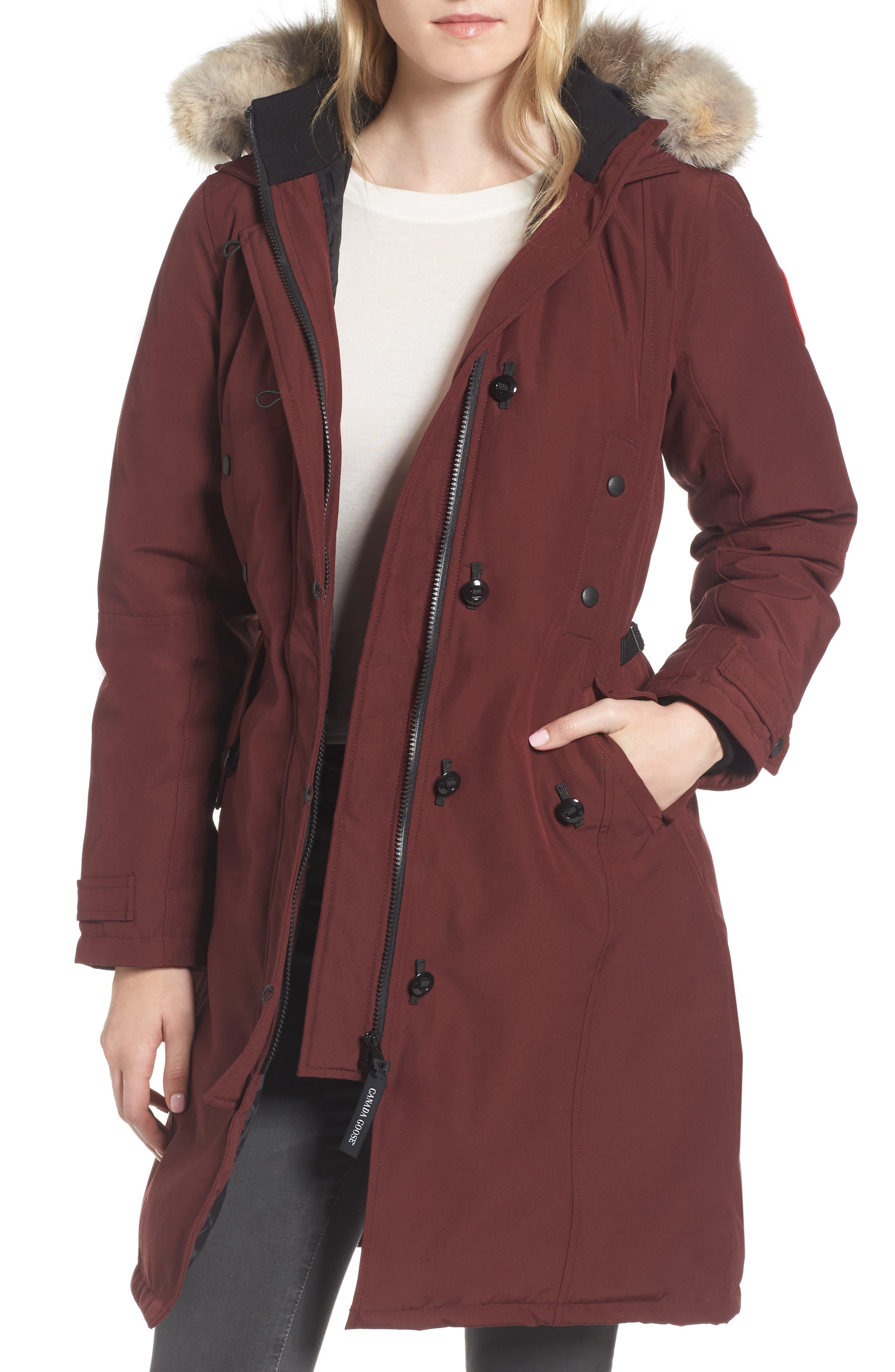 Kensington Slim Fit Down Parka with Genuine Coyote Fur Trim,                         Main,                         color, Plum
