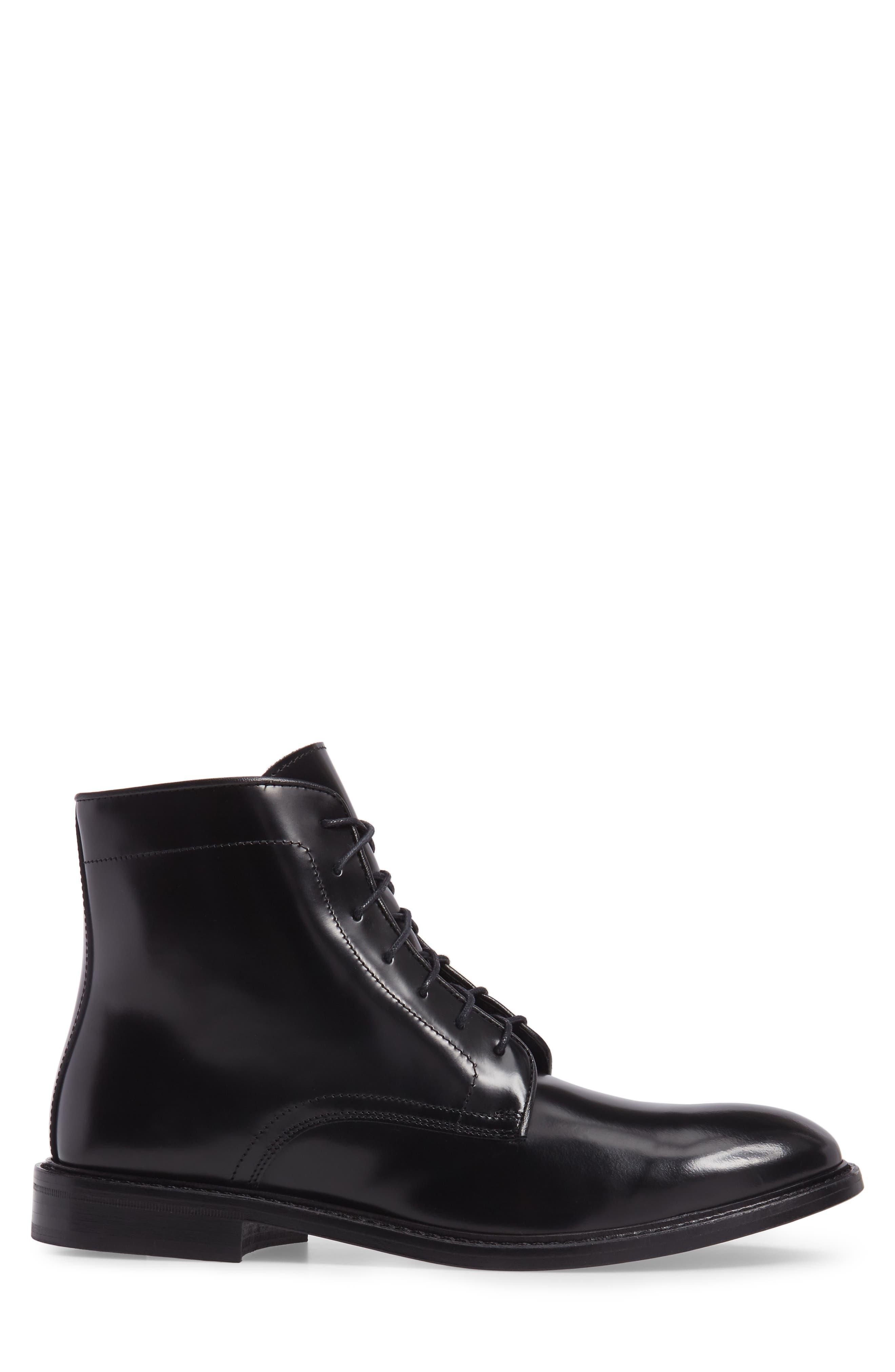 Plain Toe Boot,                             Alternate thumbnail 3, color,                             Black Leather