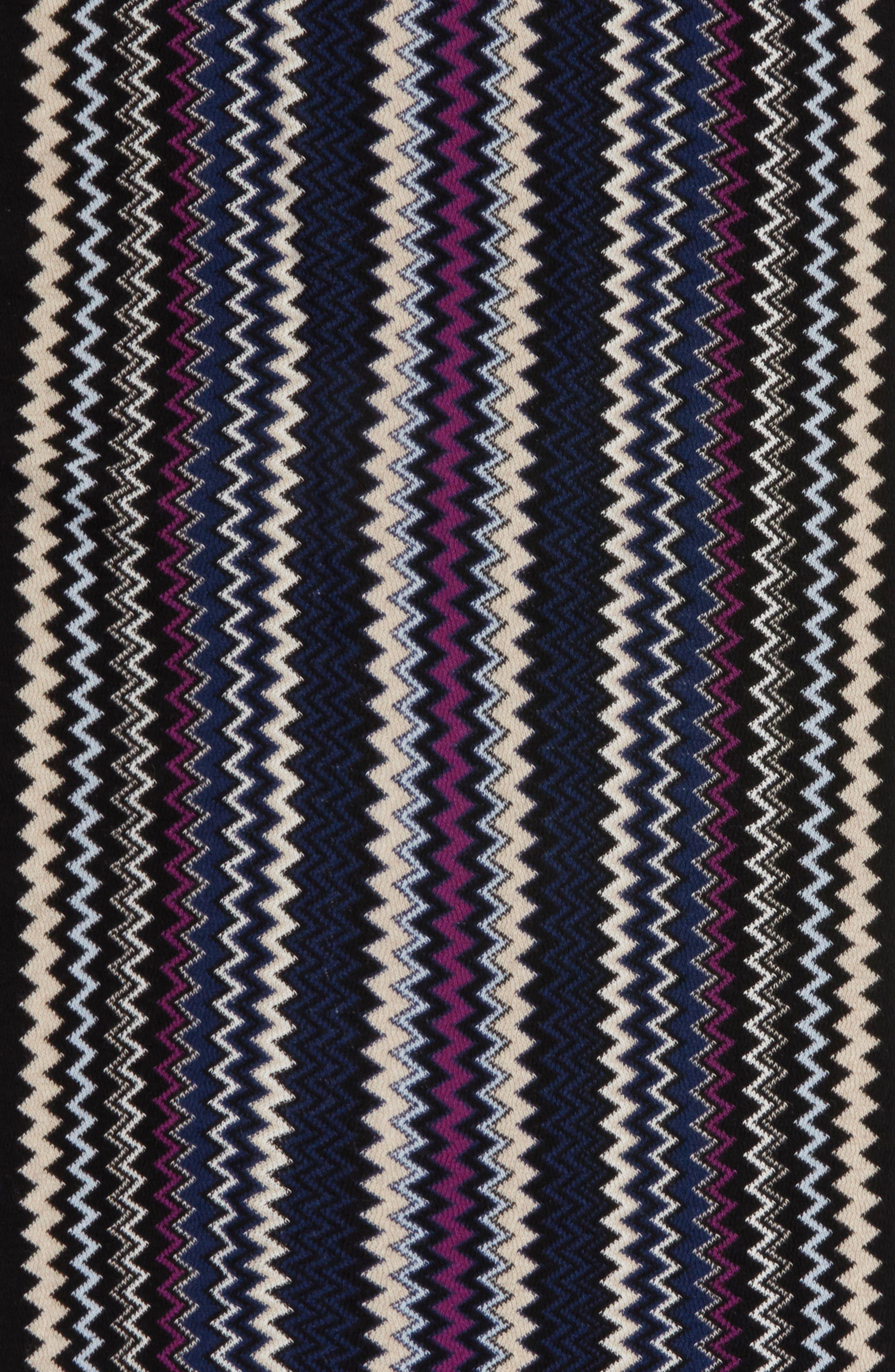 Zigzag Fringe Cashmere Scarf,                             Alternate thumbnail 4, color,                             Navy / Black