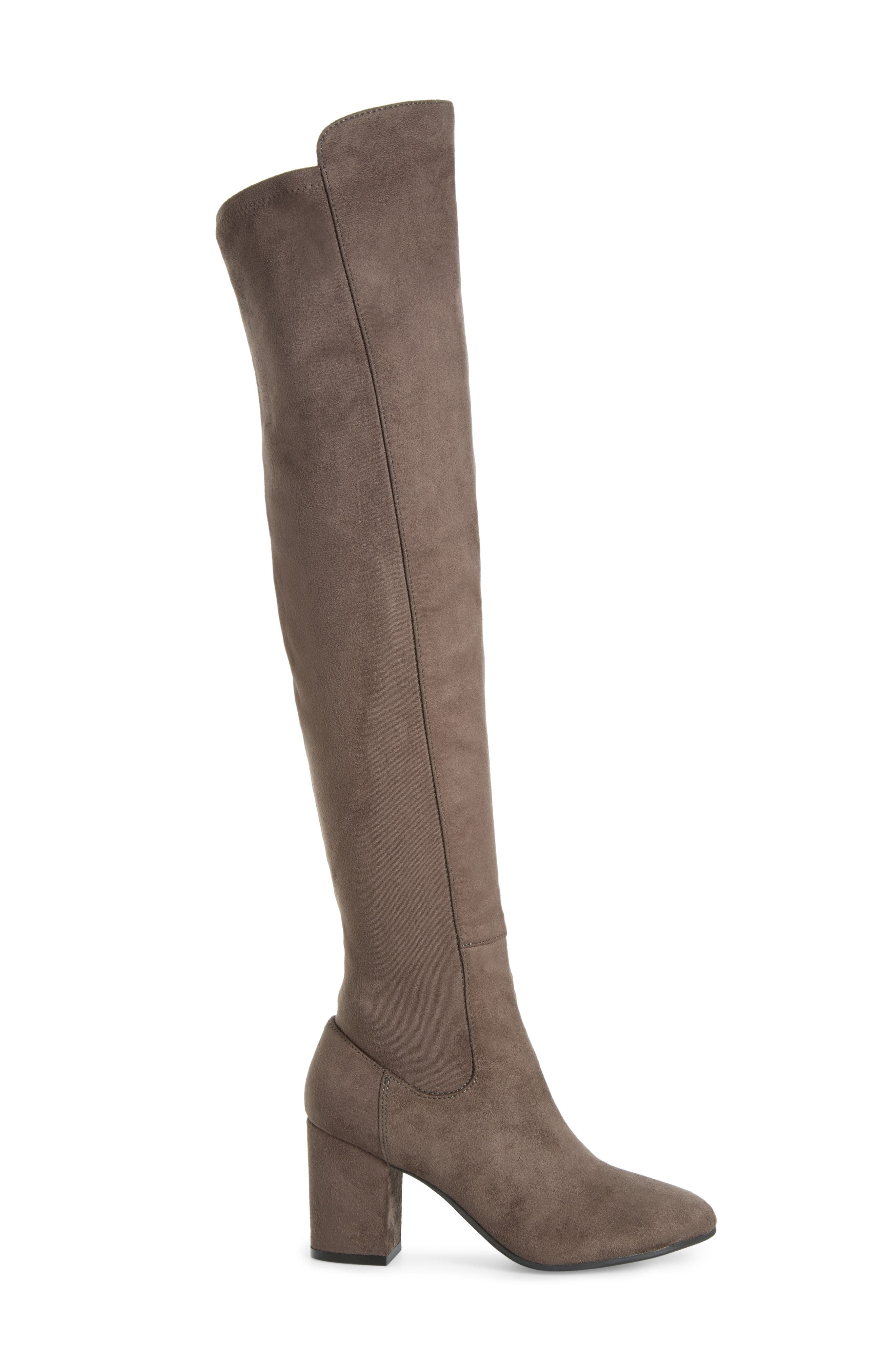Lynx Stretch Over the Knee Boot,                             Alternate thumbnail 4, color,                             Charcoal Faux Suede