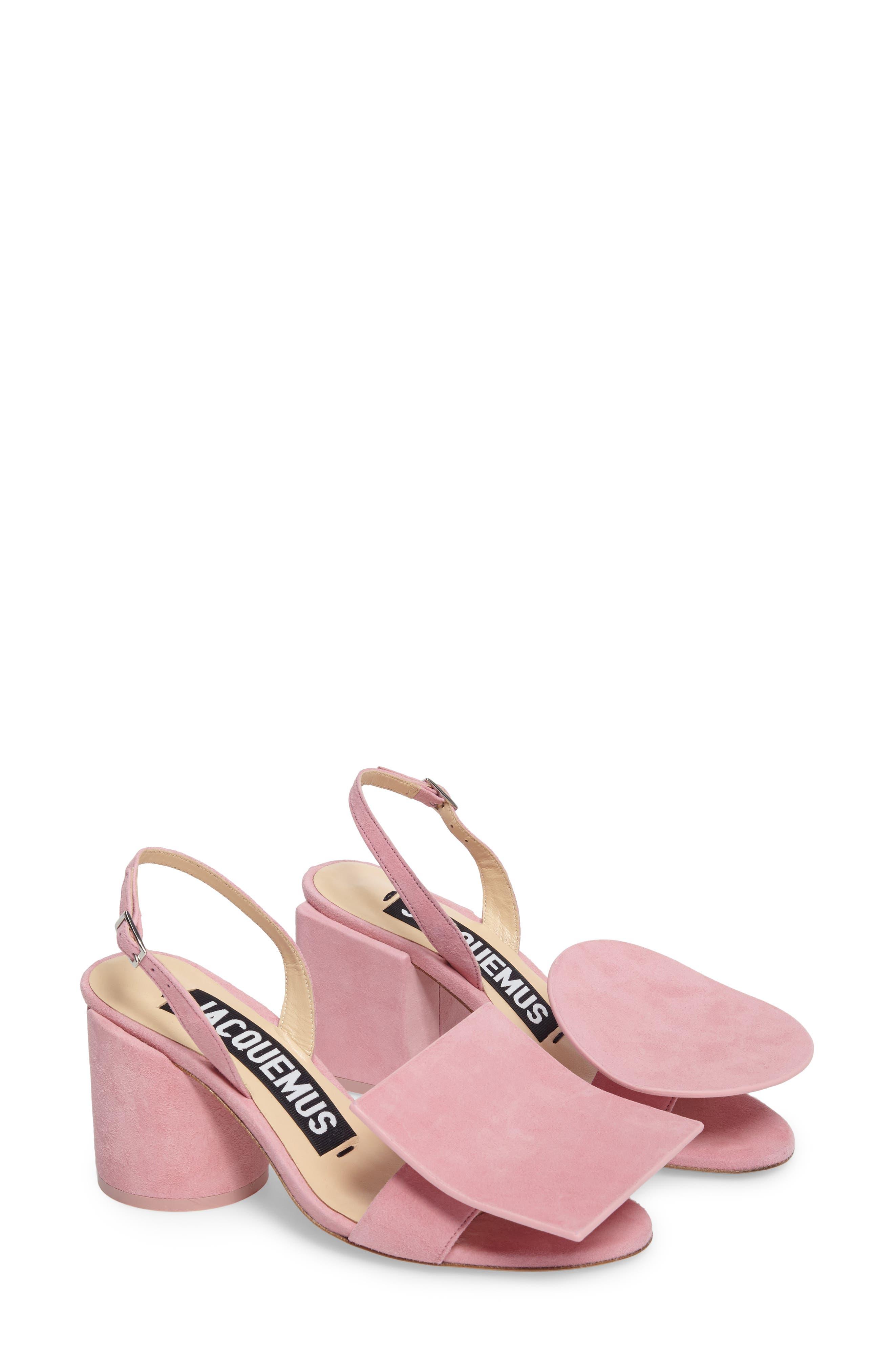 Les Rond Carré Suede Sandal,                             Main thumbnail 1, color,                             Pink
