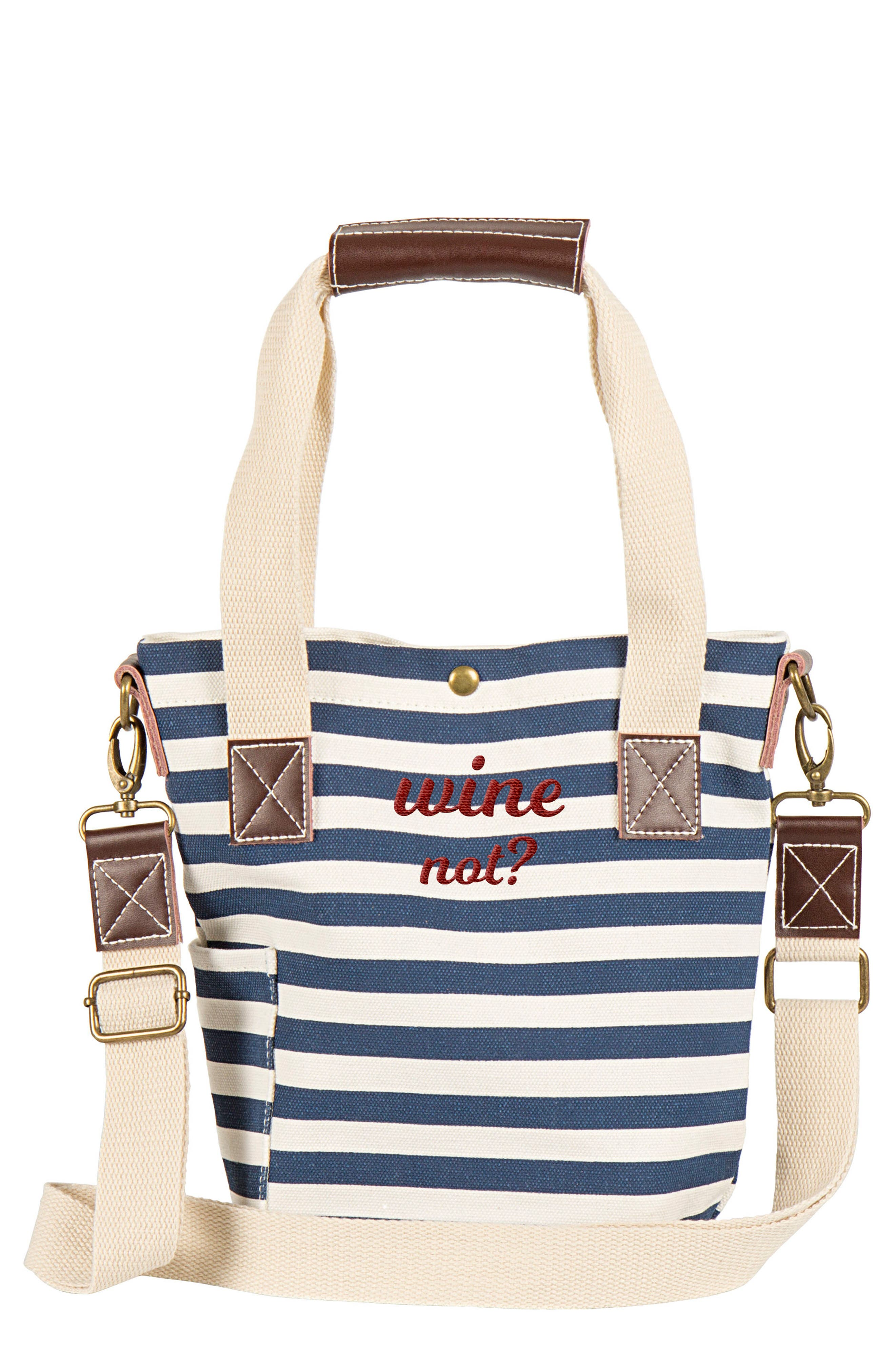 Main Image - Cathy's Concepts Wine Not? Stripe Wine Tote