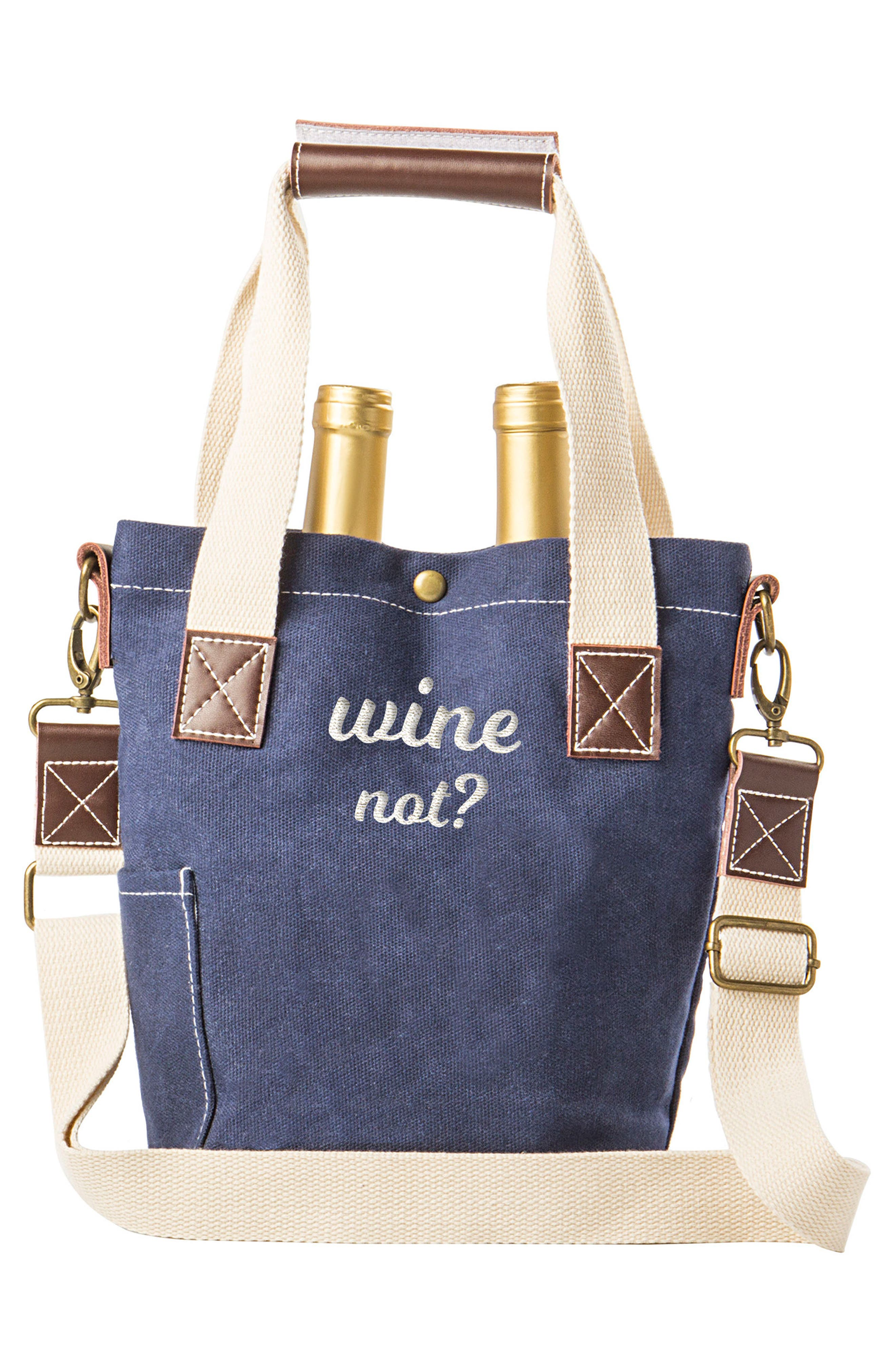 Wine Not? Wine Tote,                             Alternate thumbnail 2, color,                             Blue