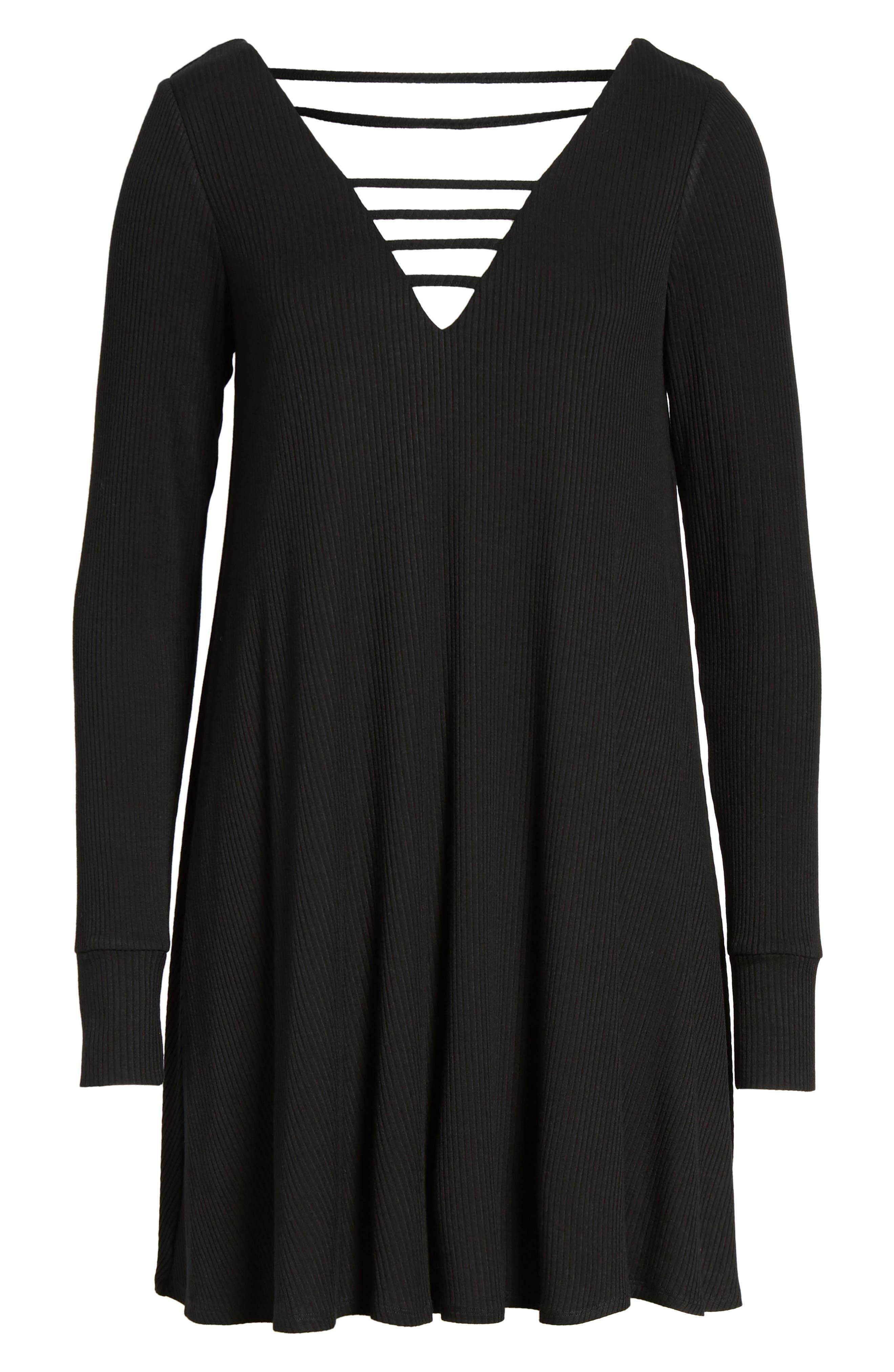 Strappy Swing Dress,                             Alternate thumbnail 6, color,                             Black