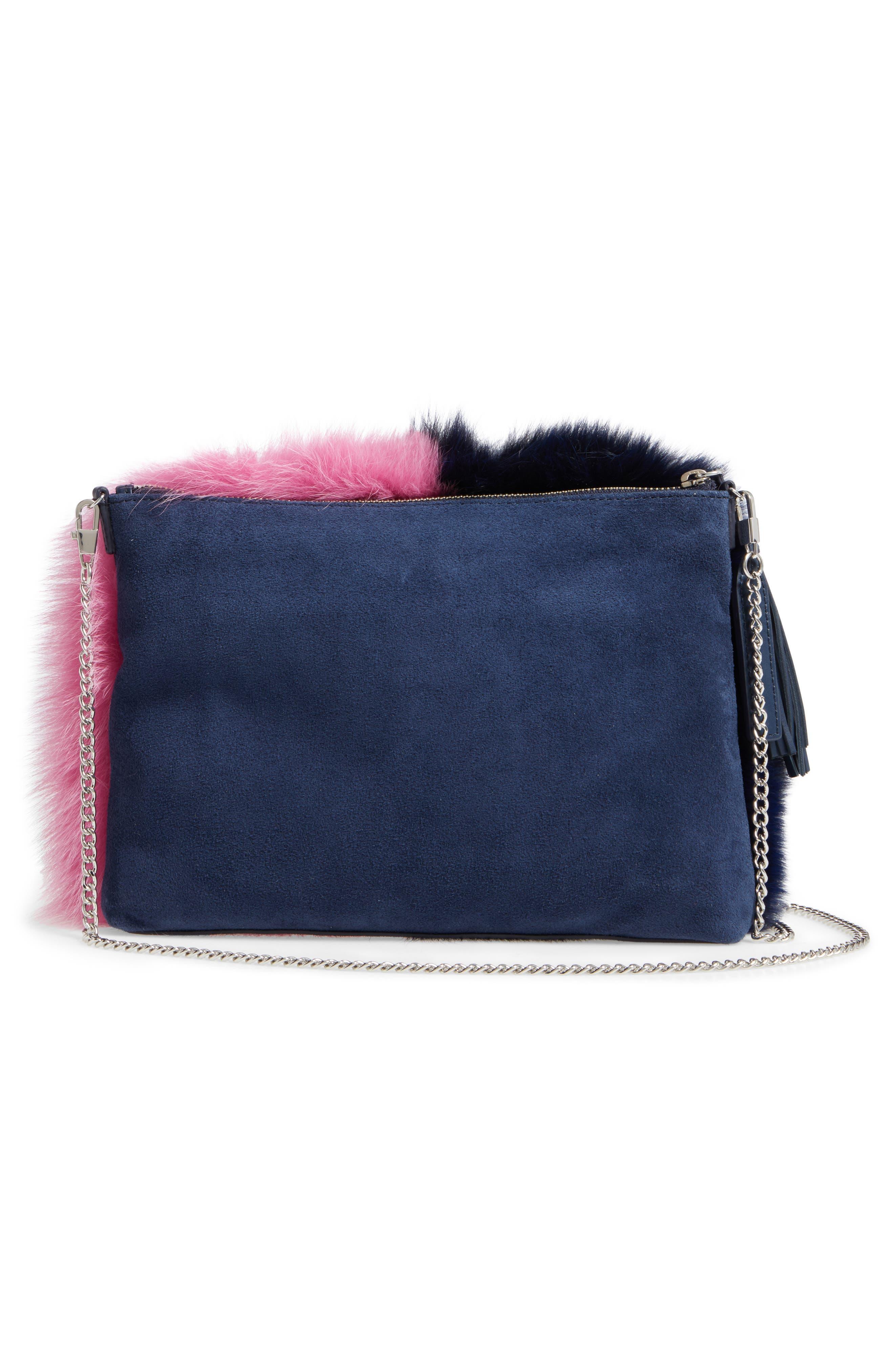 Genuine Fox Fur Tassel Pouch,                             Alternate thumbnail 3, color,                             Eclipse/ Hot Pink