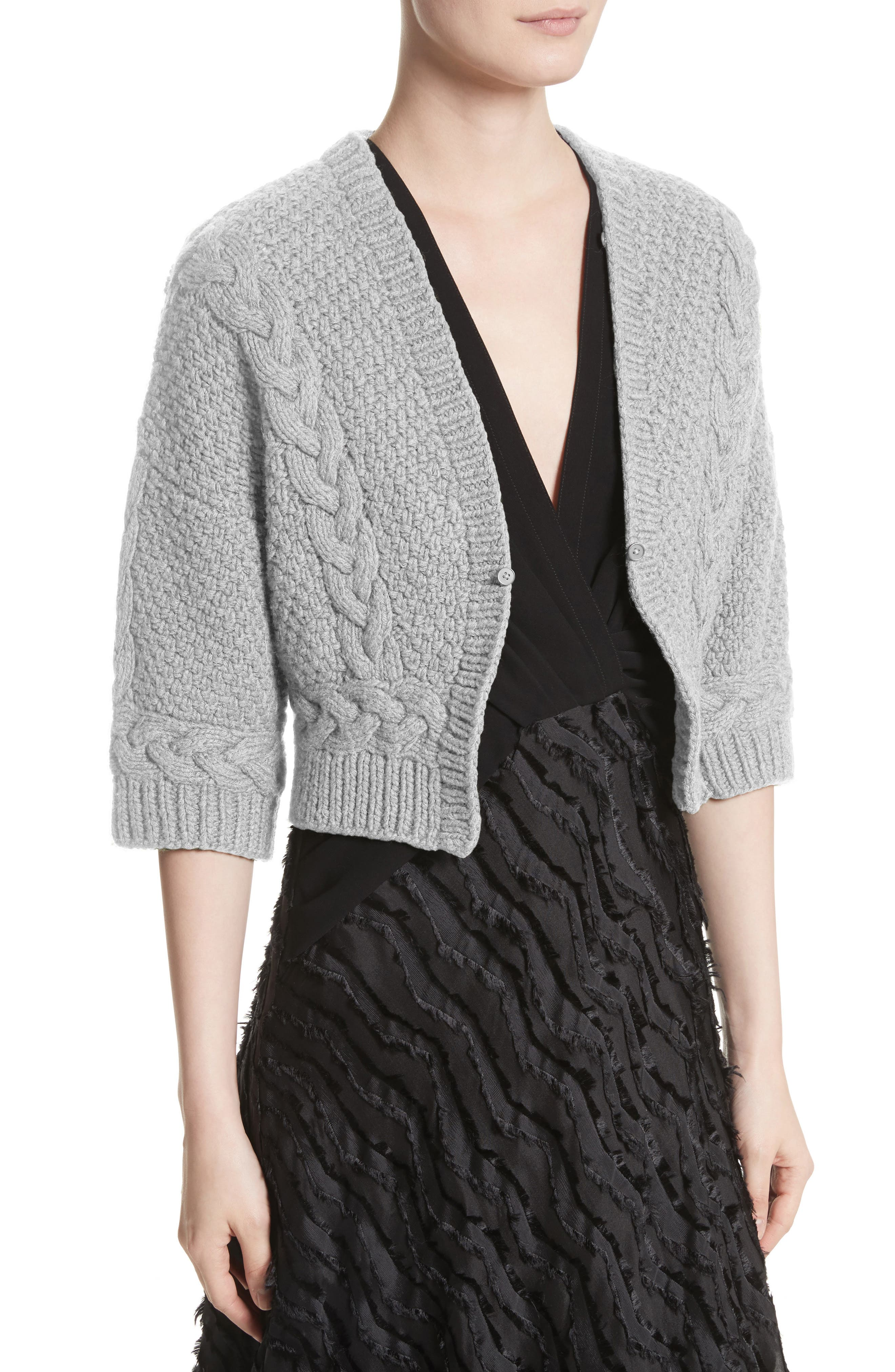 Merino Wool & Cashmere Knit Bolero with Removable Genuine Fox Fur Collar,                             Alternate thumbnail 8, color,                             Grey