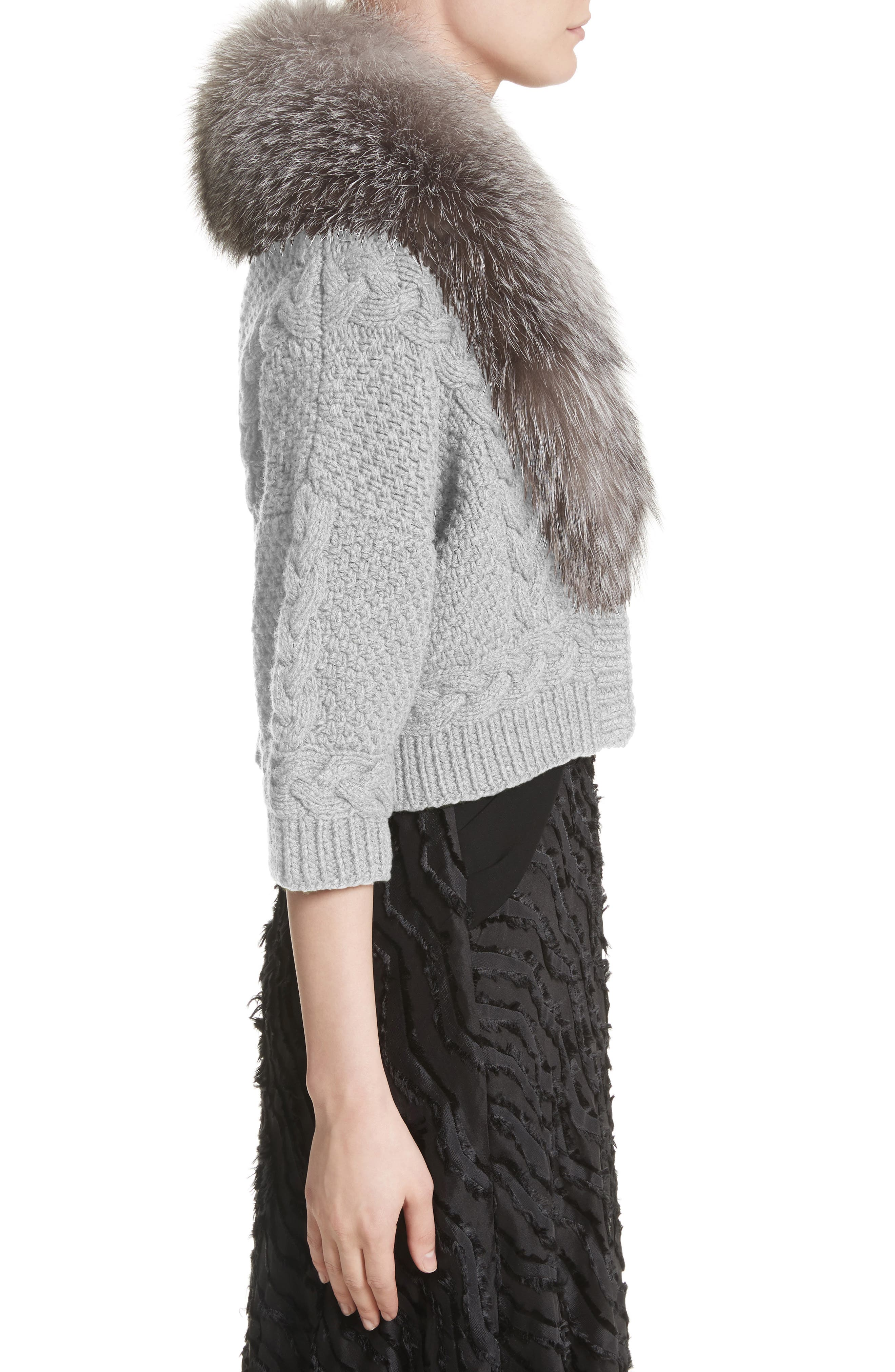 Alternate Image 3  - Yigal Azrouël Merino Wool & Cashmere Knit Bolero with Removable Genuine Fox Fur Collar