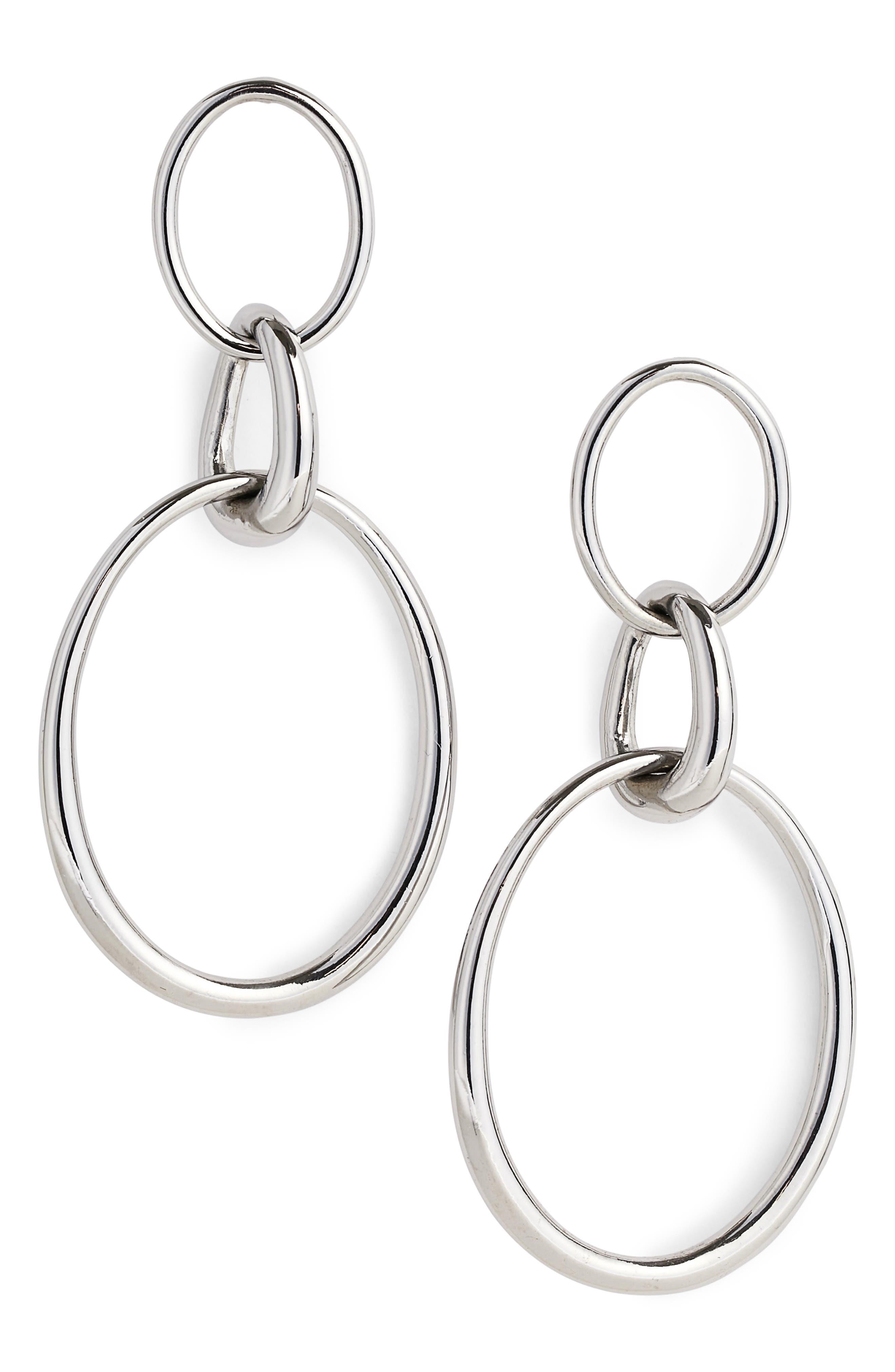 Drop Earrings,                         Main,                         color, Ruthenium/ Crystal Dark Grey