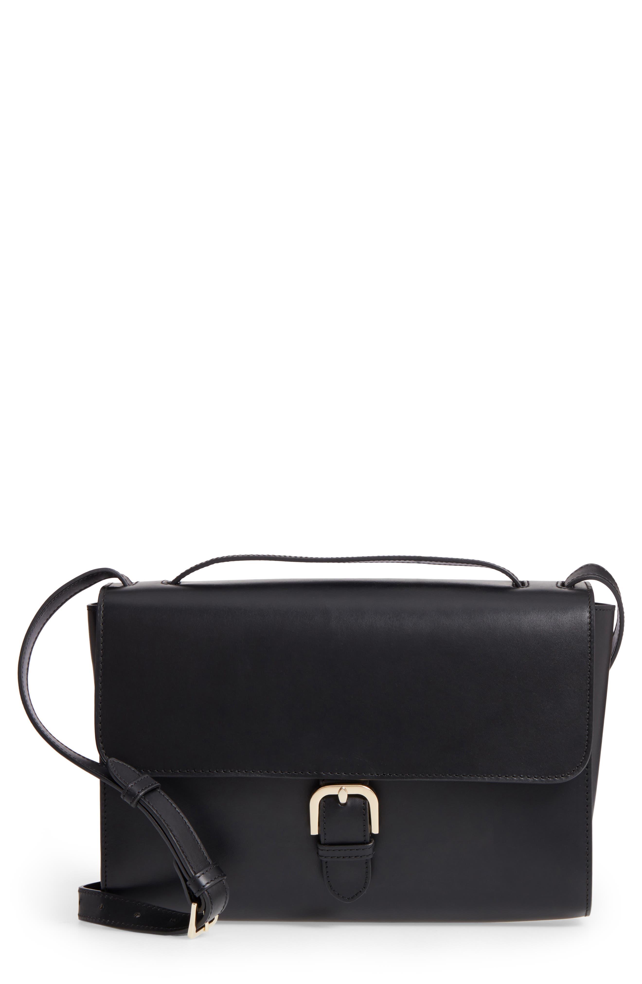 Katy Calfskin Leather Messenger Bag,                             Main thumbnail 1, color,                             Noir