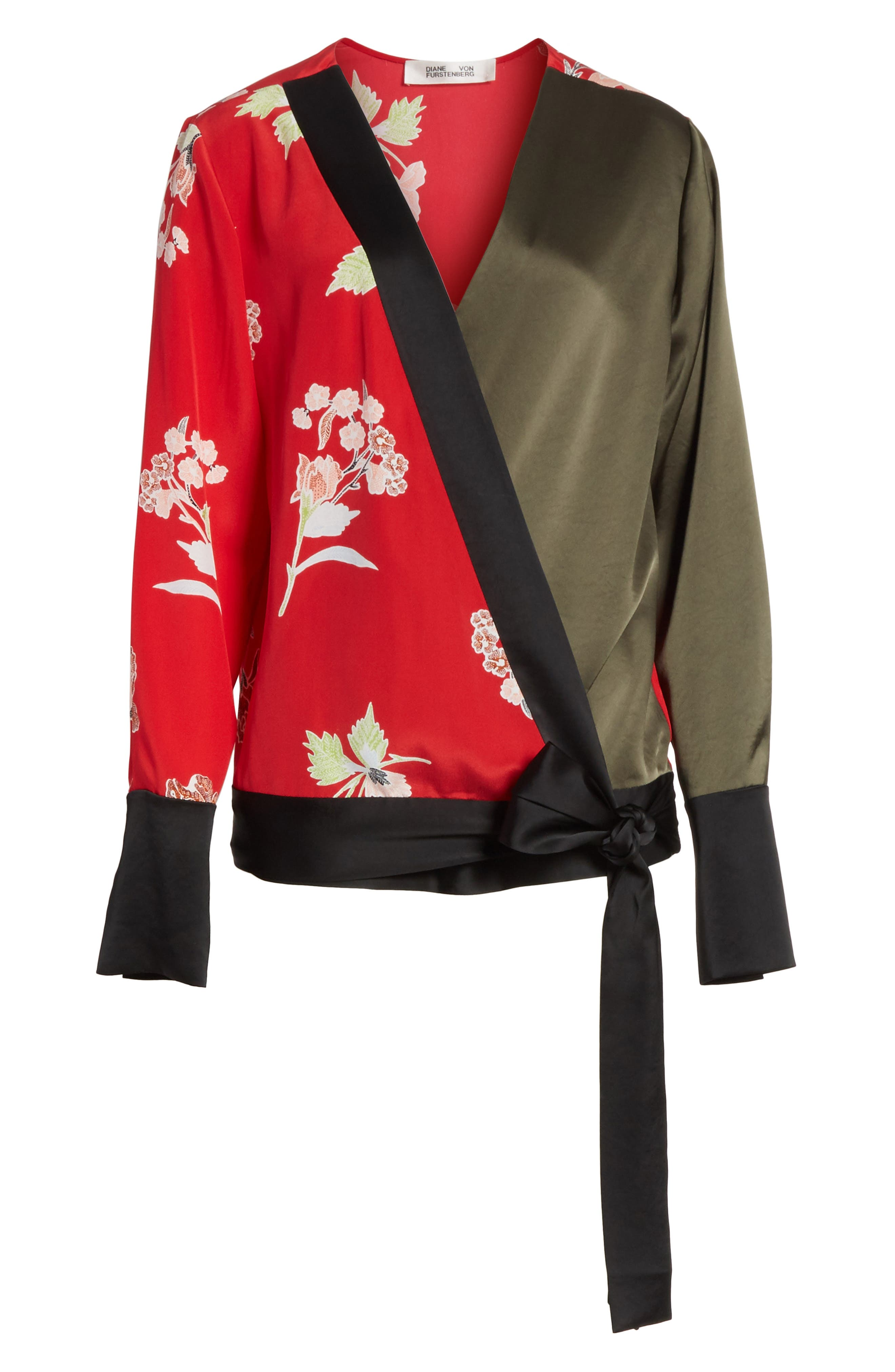 Diane von Furstenberg Bell Sleeve Crossover Silk Blouse,                             Alternate thumbnail 6, color,                             Everton Lipstick/ Olive