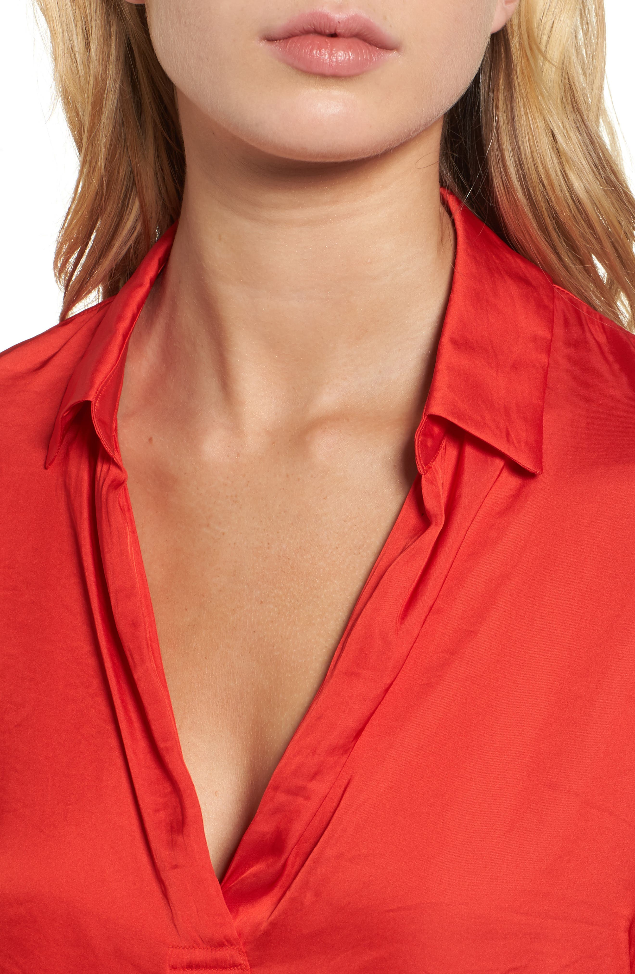 Satin Henley,                             Alternate thumbnail 4, color,                             Firey Red