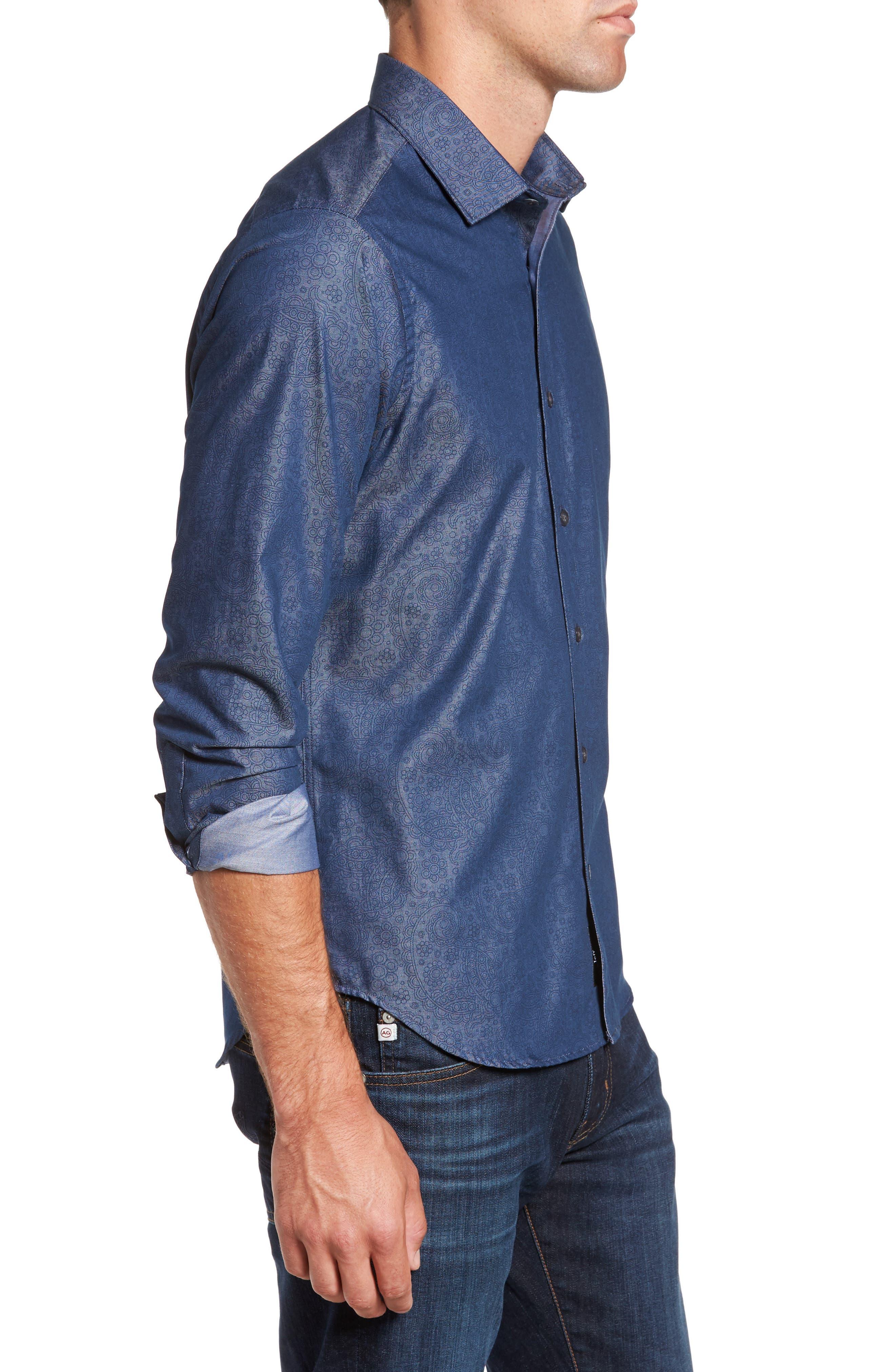 Alternate Image 3  - Jeff Edison Slim Fit Paisley Print Sport Shirt