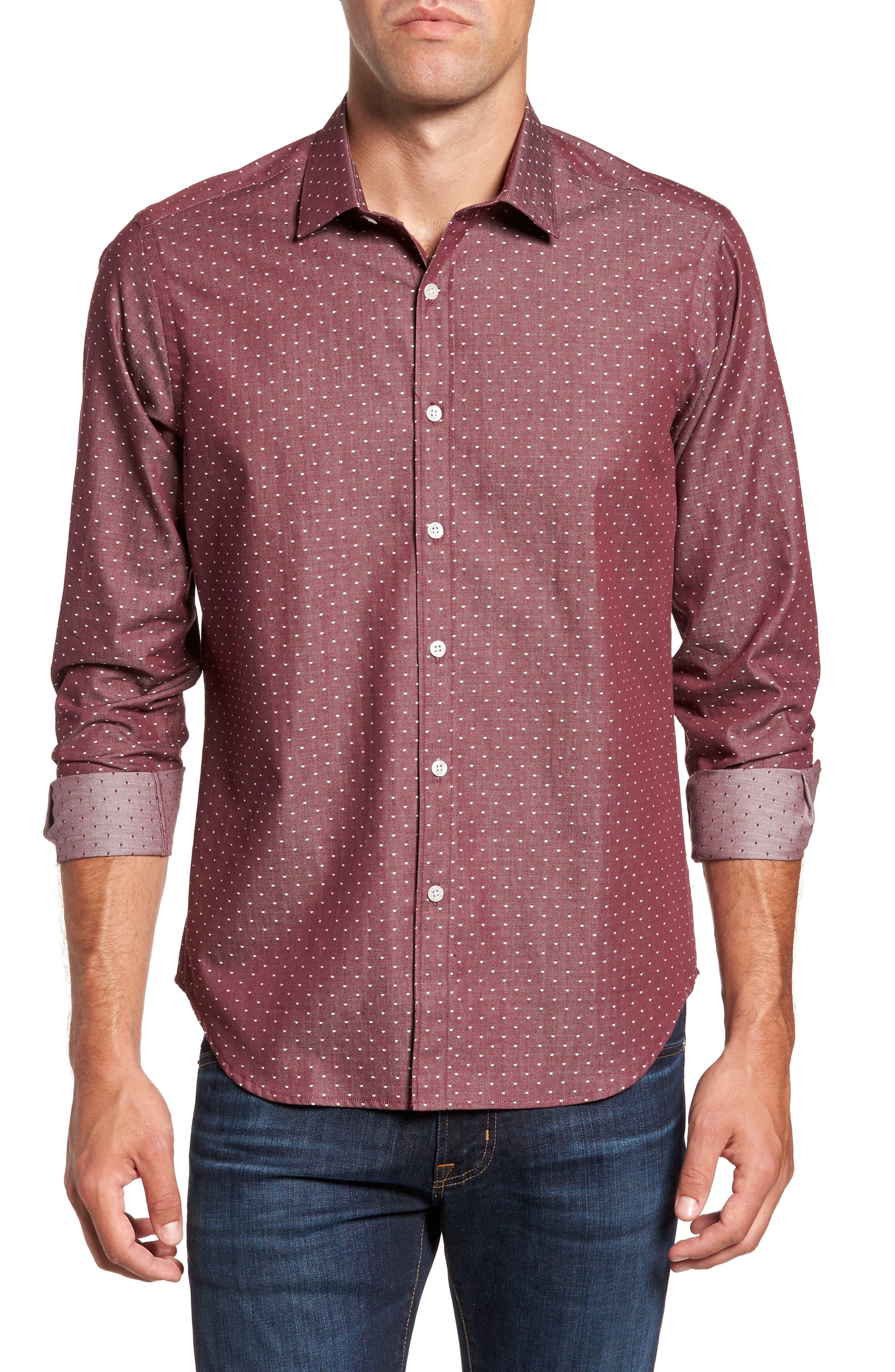Slim Fit Dot Print Sport Shirt,                         Main,                         color, Wine