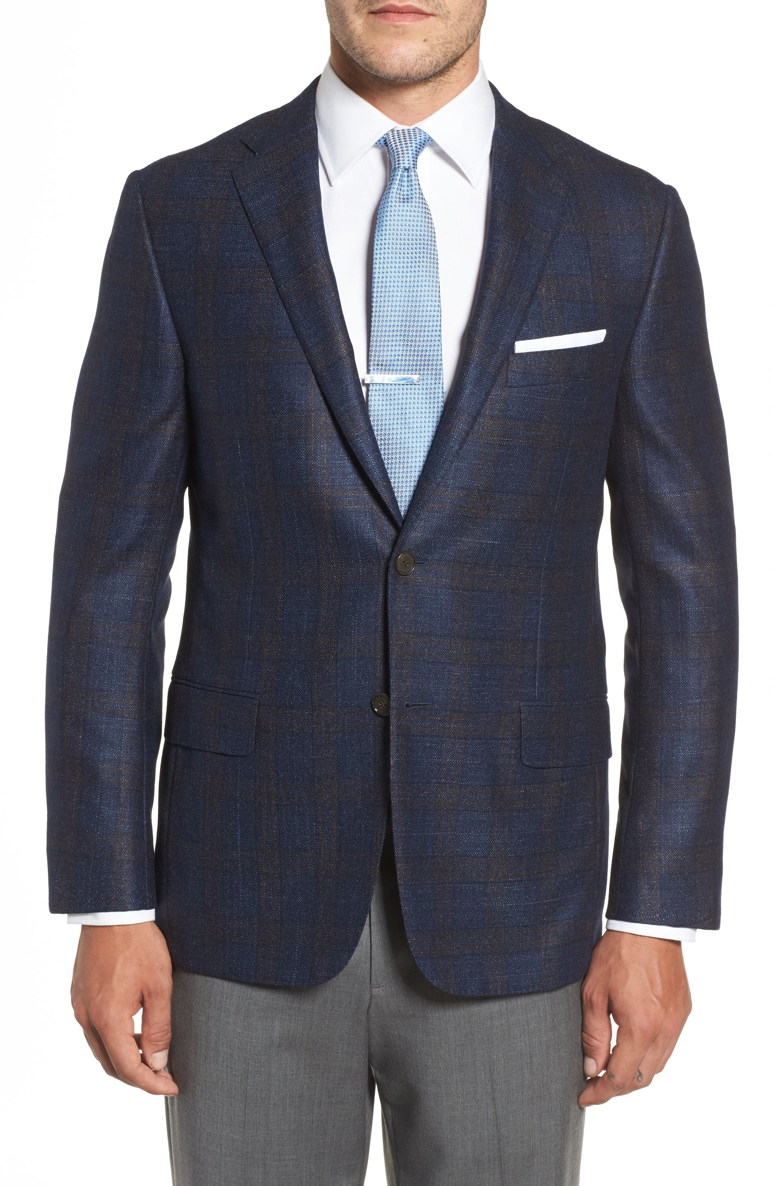 Hickey Freeman Beacon Classic Fit Plaid Wool Blend Sport Coat