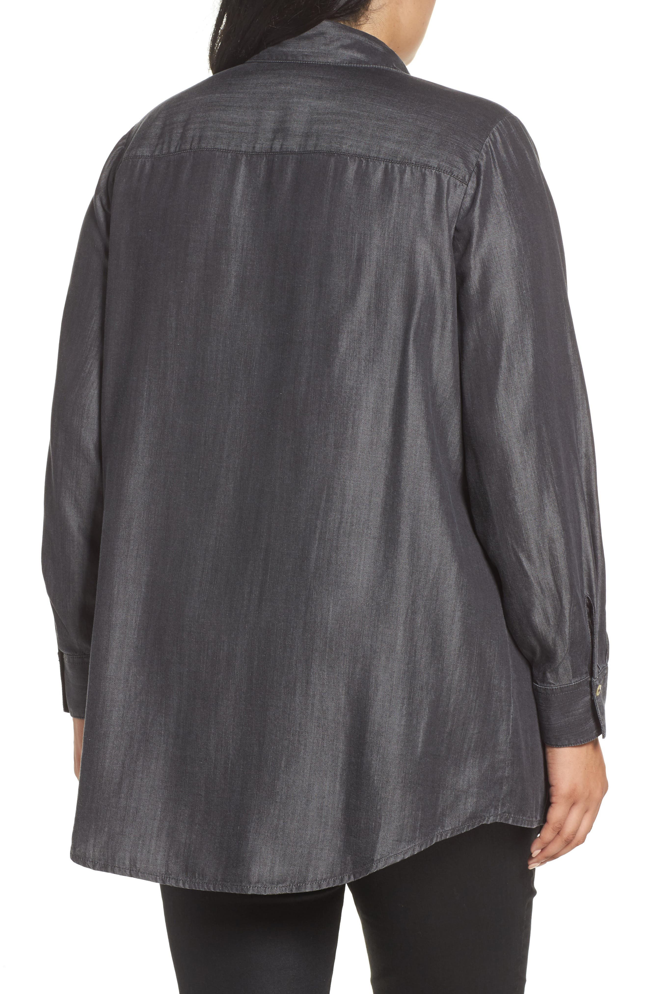 Alternate Image 2  - Foxcroft Chambray Tunic (Plus Size)