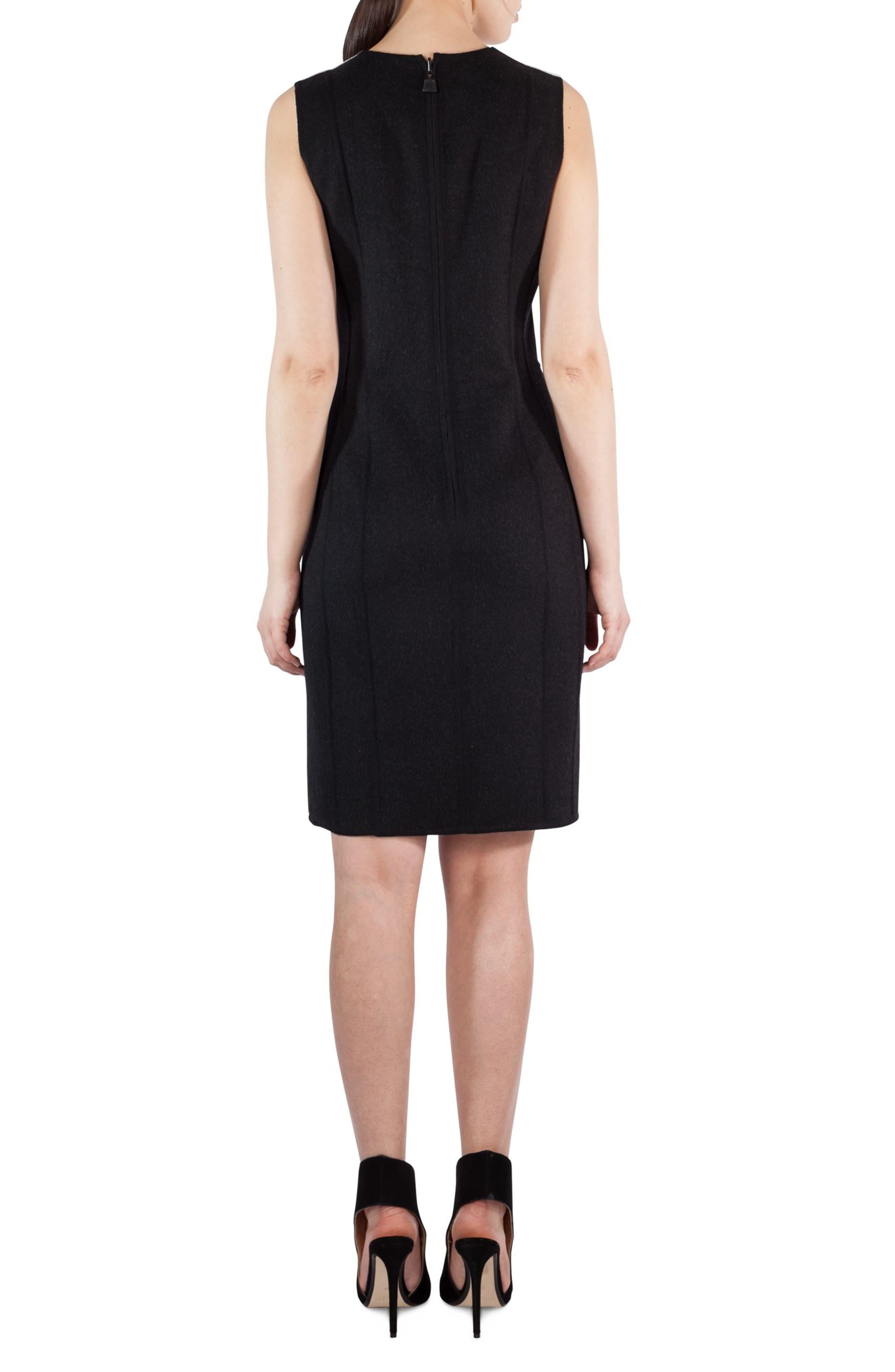 Double Face Wool Bicolor Reversible Dress,                             Alternate thumbnail 3, color,                             Black-Crema