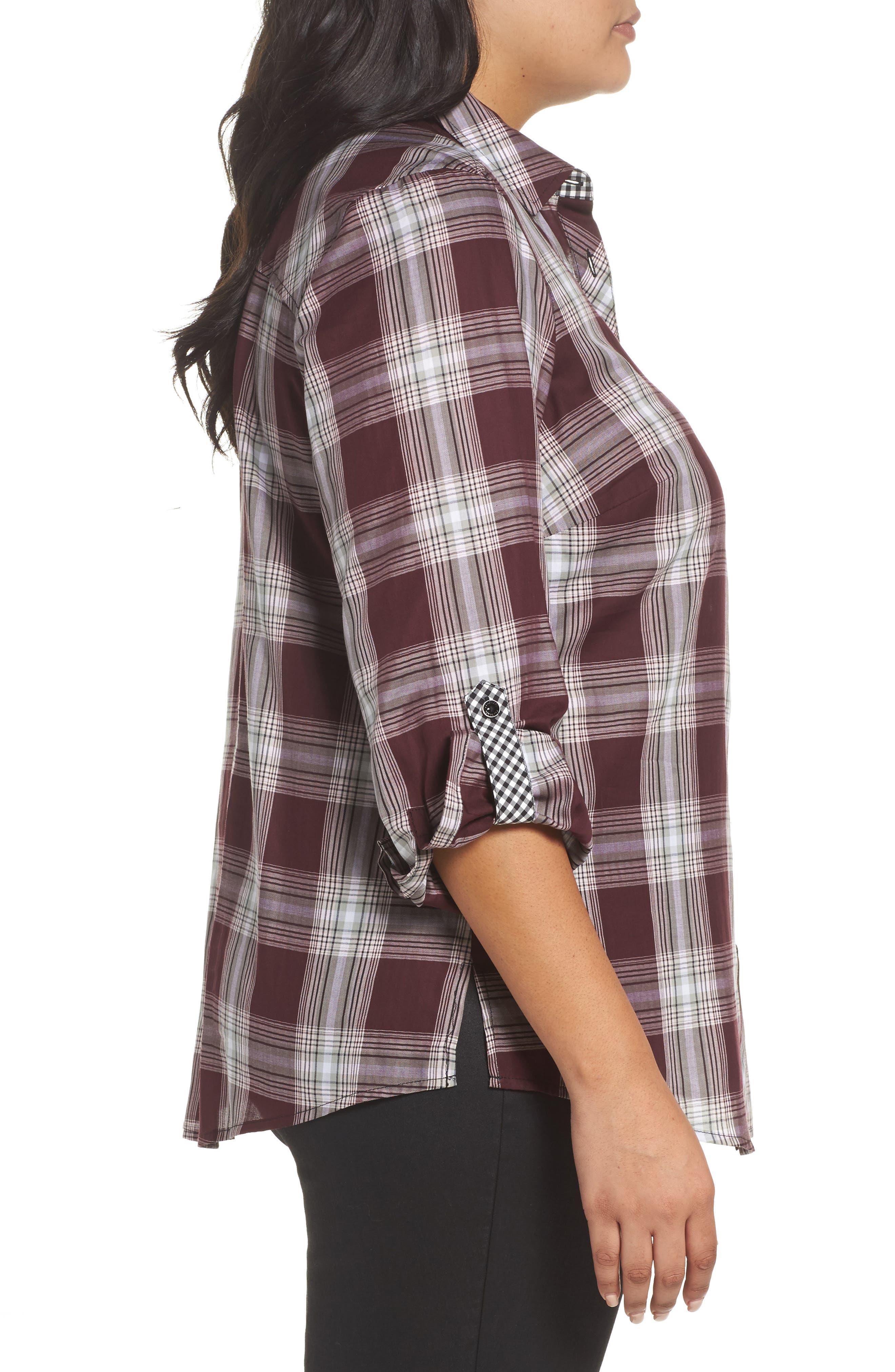 Alternate Image 3  - Foxcroft Addison Plaid Cotton Shirt (Plus Size)