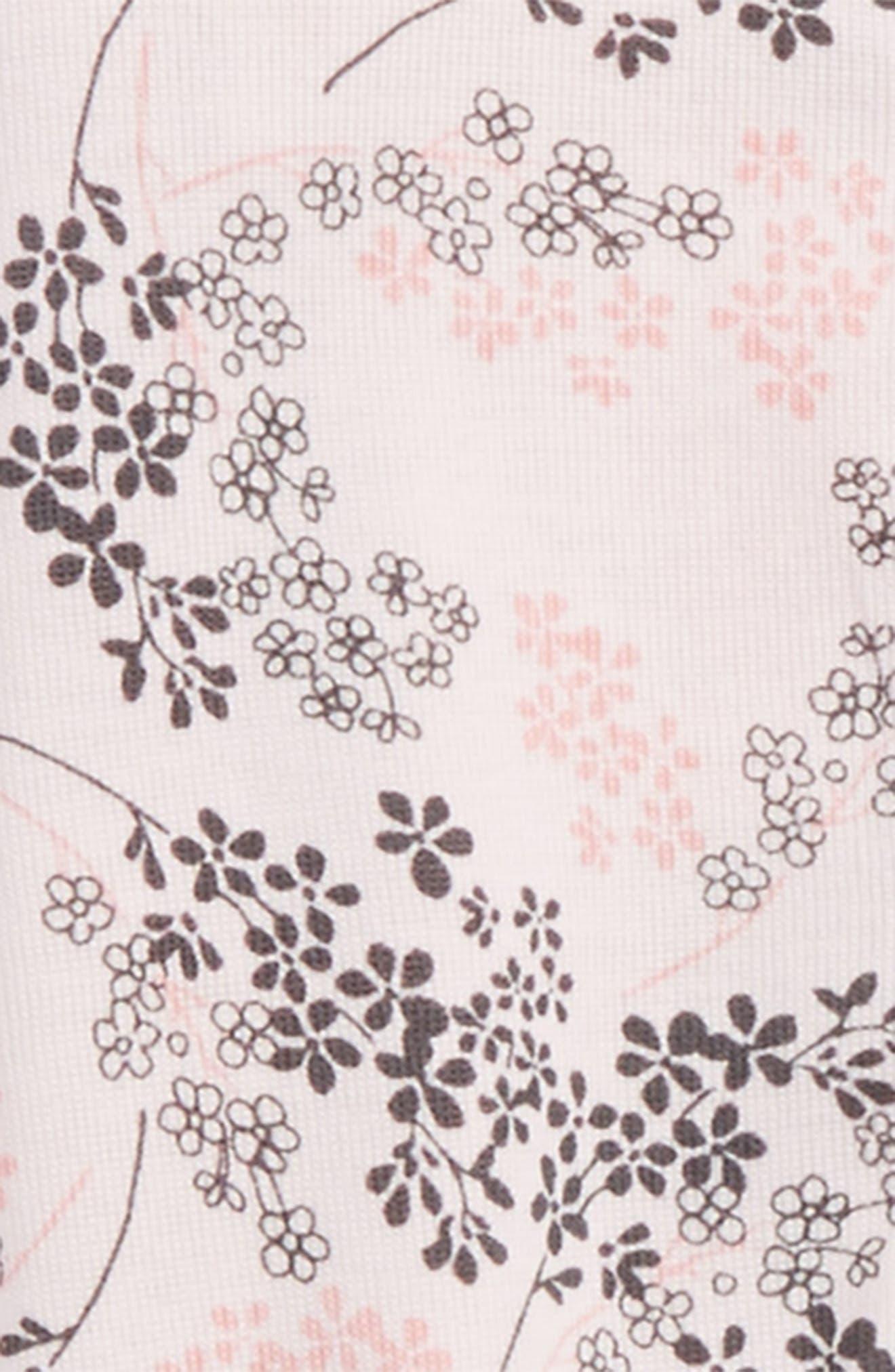 Floral Print Footie & Hat Set,                             Alternate thumbnail 2, color,                             Pink Floral