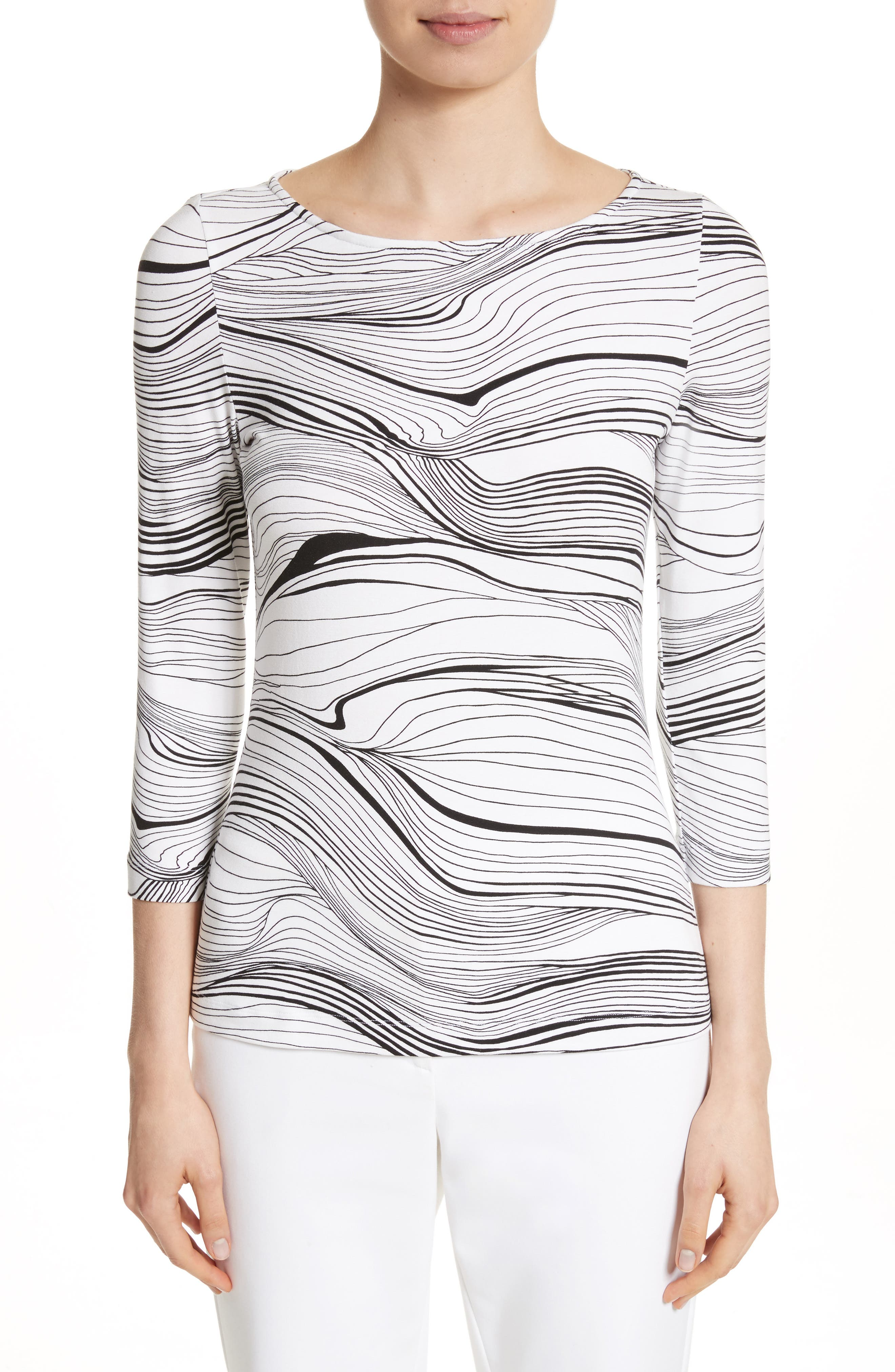 St. John Collection Brushstroke Print Jersey Top