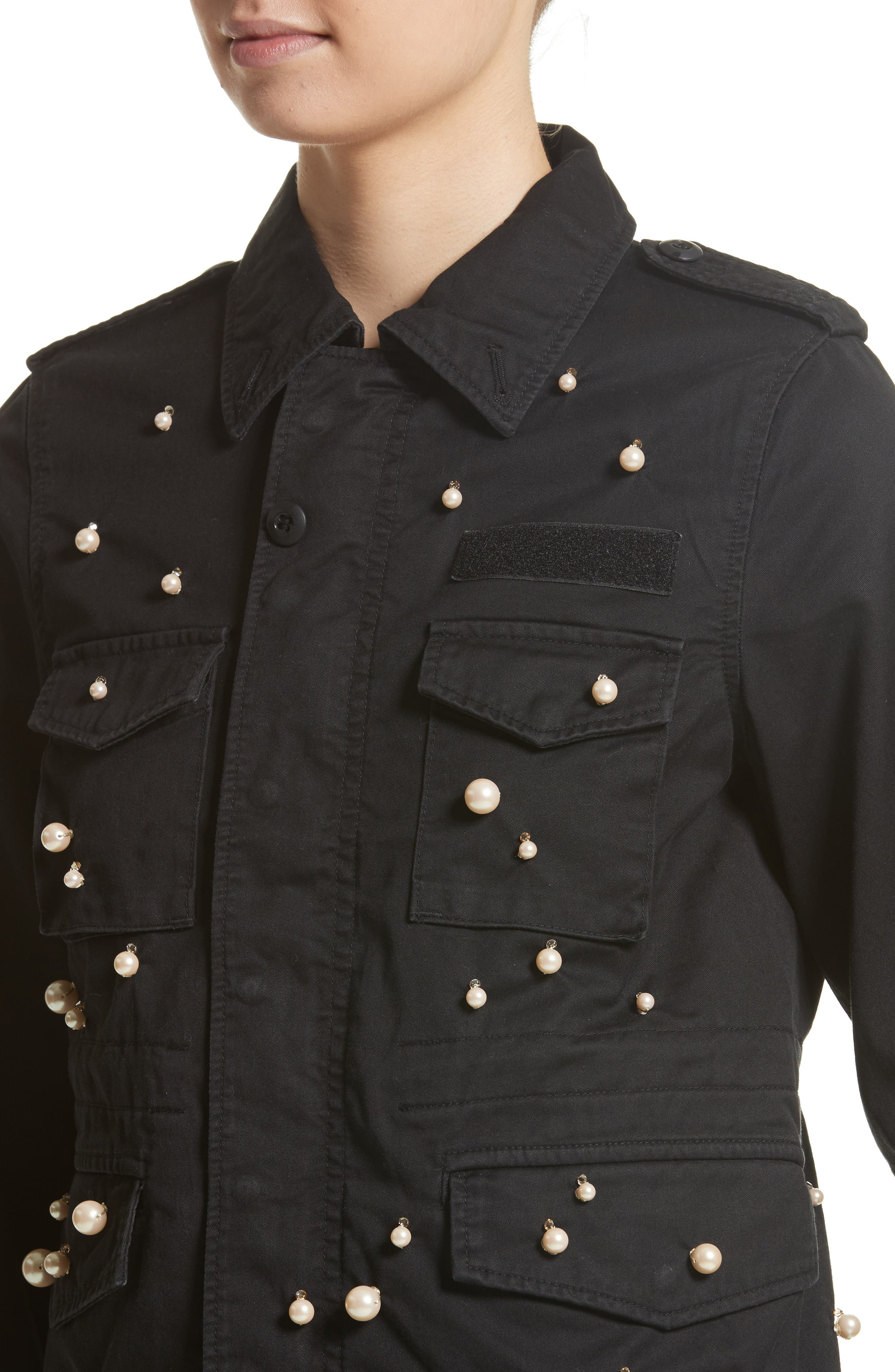 Snow Imitation Pearl Embellished Field Jacket,                             Alternate thumbnail 4, color,                             Black