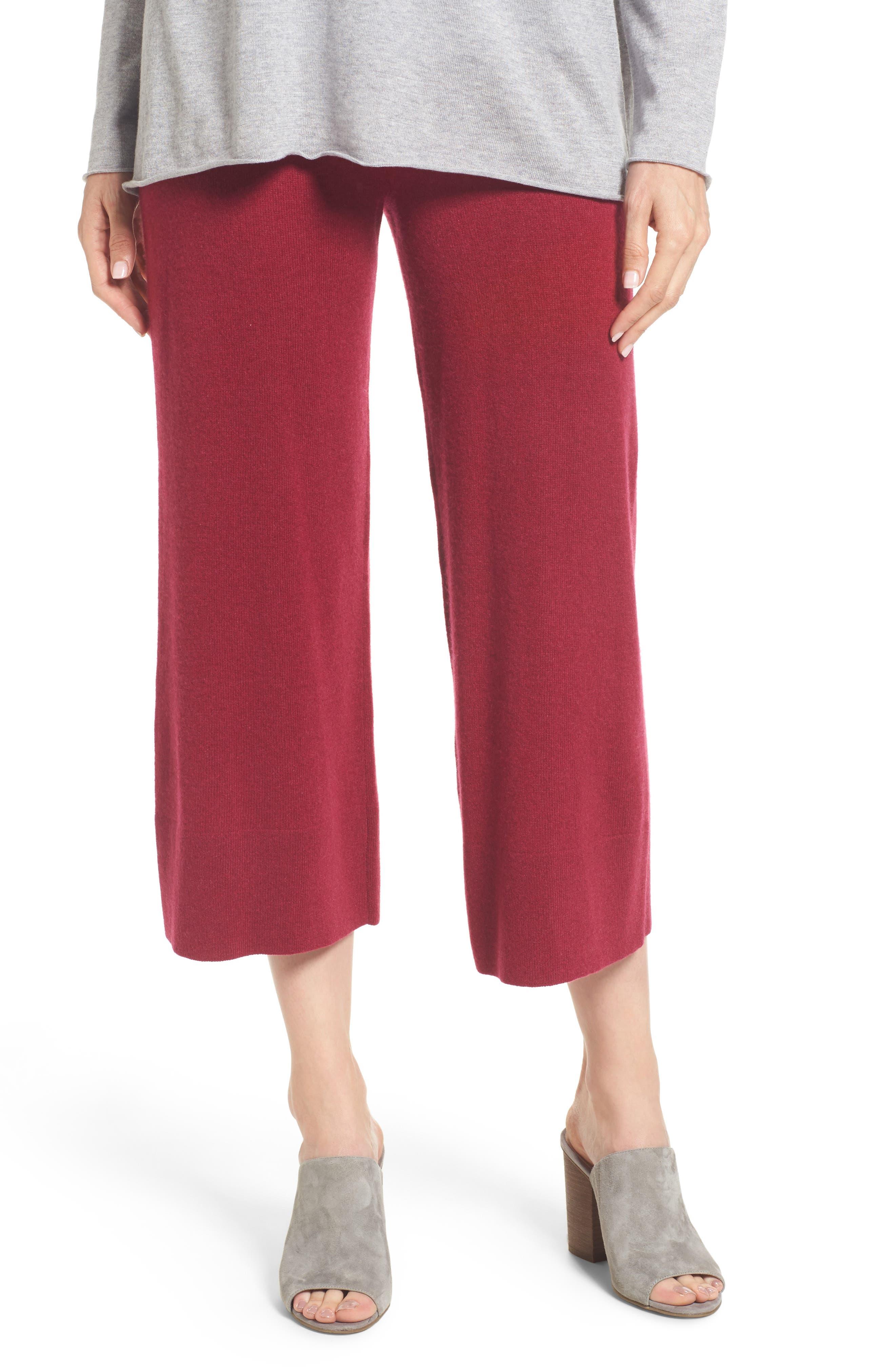 Knit Cashmere Ankle Pants,                         Main,                         color, Hibiscus
