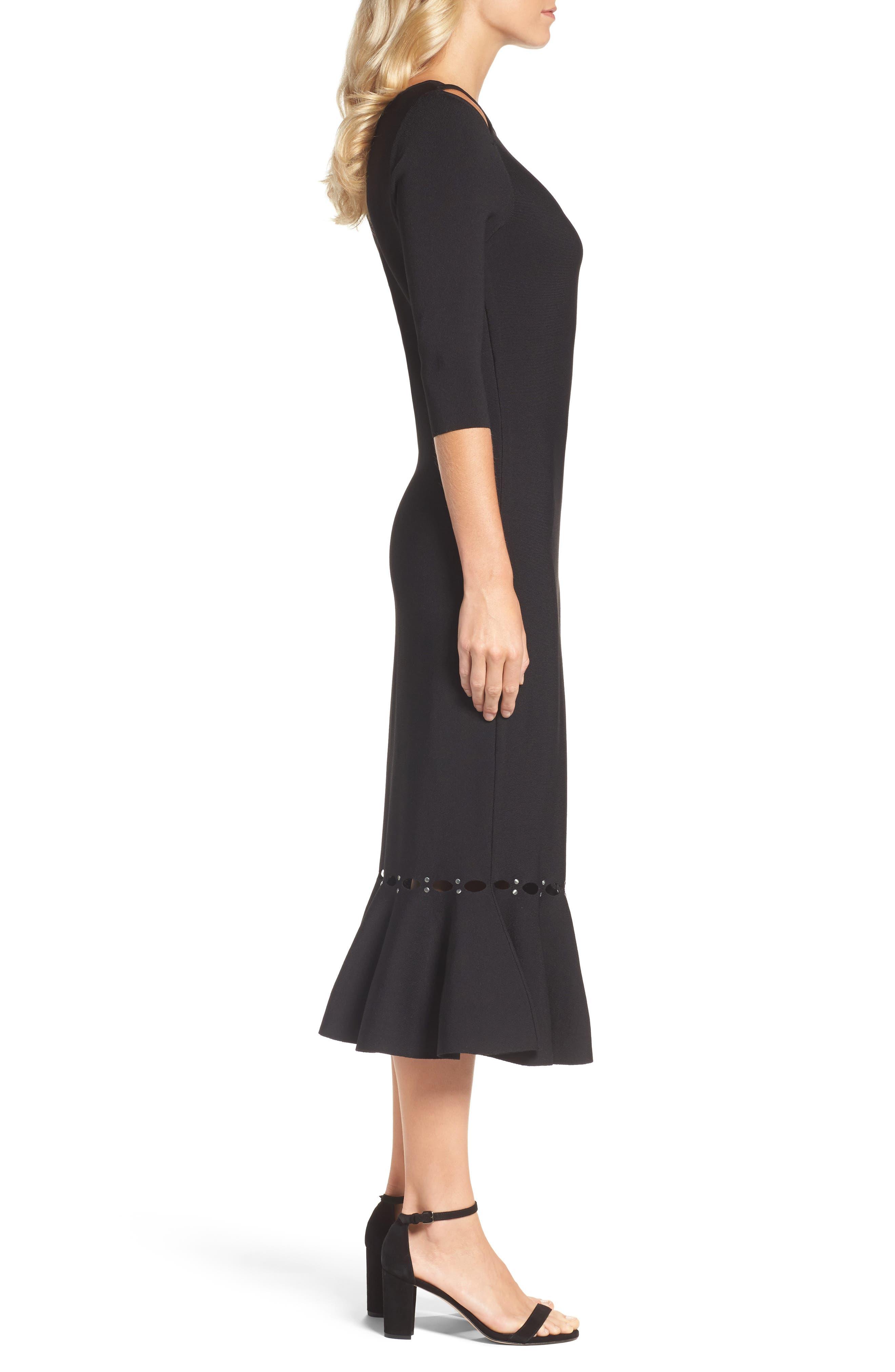 Flared Hem Midi Dress,                             Alternate thumbnail 3, color,                             Black Onyx