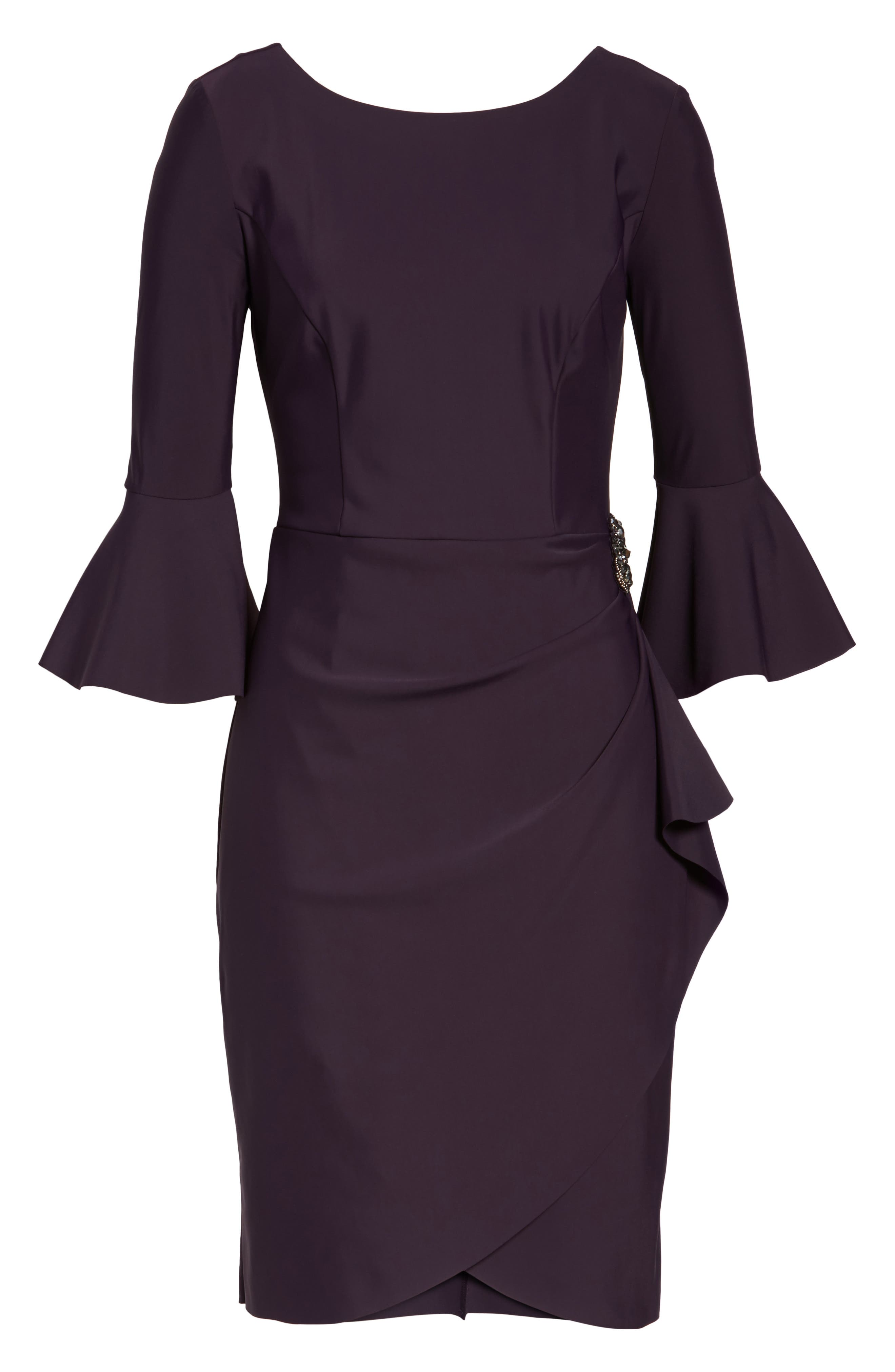 Alternate Image 6  - Alex Evenings Bell Sleeve Sheath Dress (Regular & Petite)