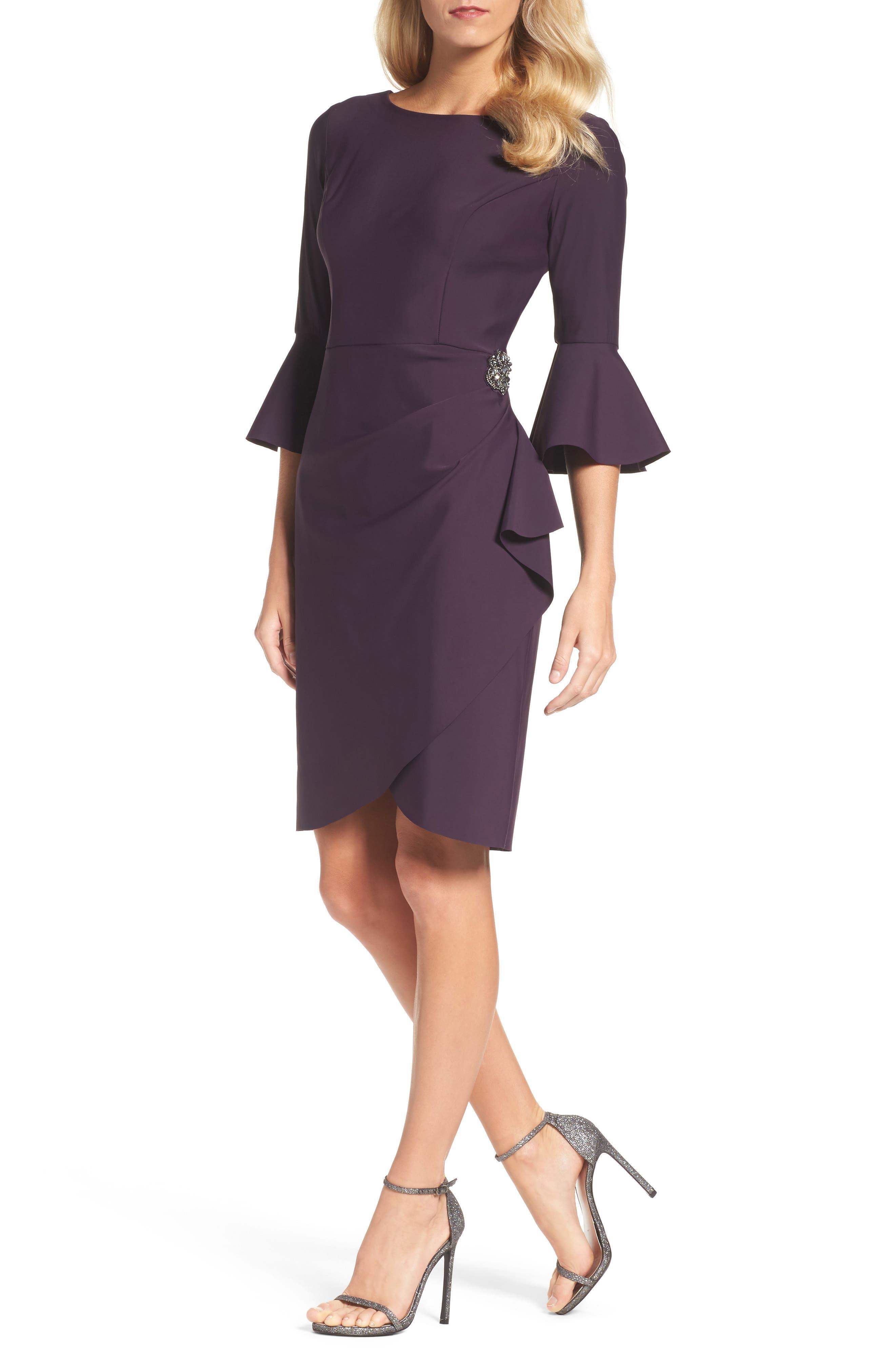 Alternate Image 1 Selected - Alex Evenings Bell Sleeve Sheath Dress (Regular & Petite)