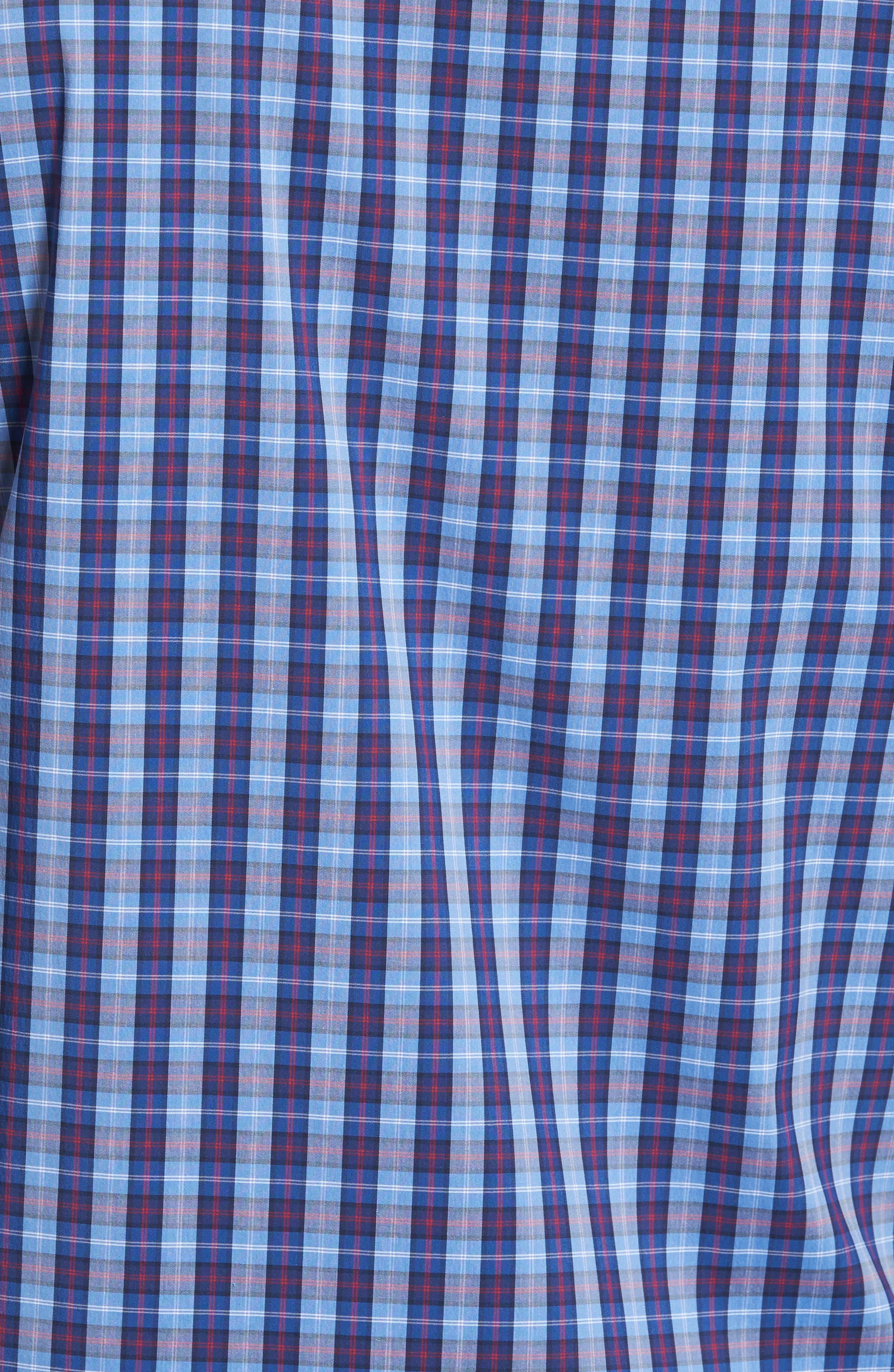 Trim Fit Tech-Smart Plaid Sport Shirt,                             Alternate thumbnail 5, color,                             Blue Hydrangea Navy Plaid