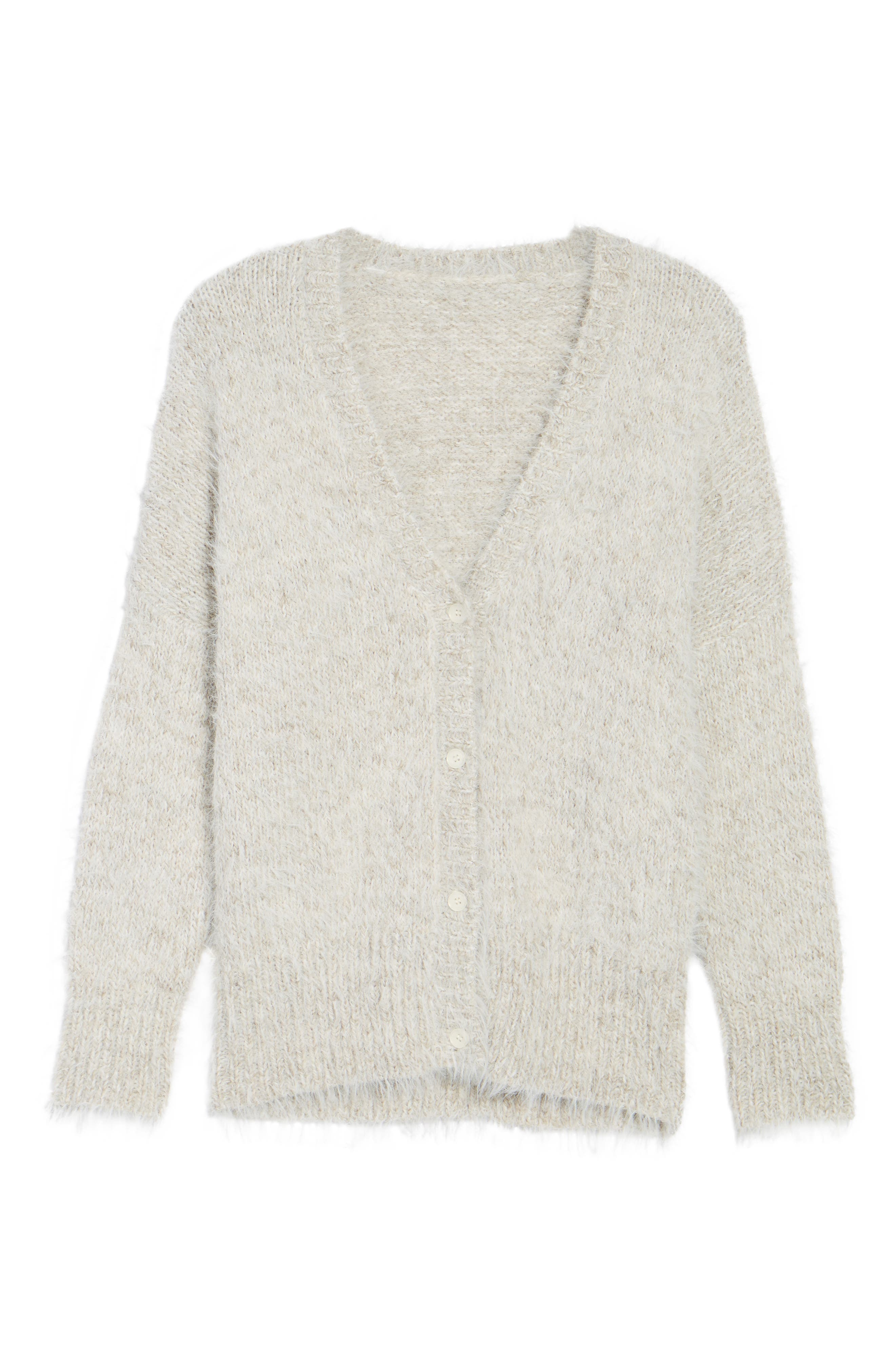 Fuzzy Cardigan,                             Alternate thumbnail 6, color,                             Grey Chateau