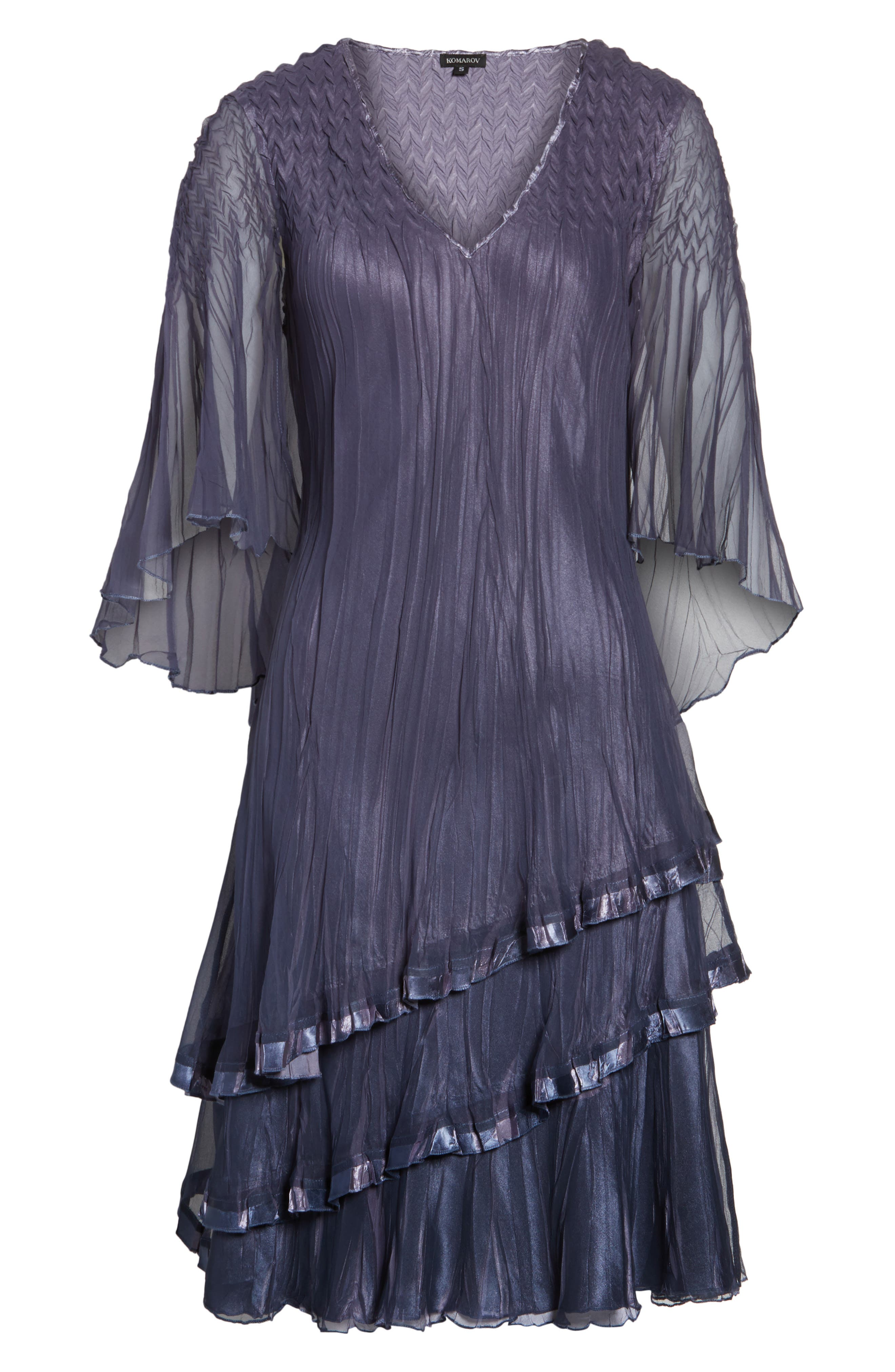 Cape Sleeve Tiered A-Line Dress,                             Alternate thumbnail 6, color,                             Purple Sage Blue