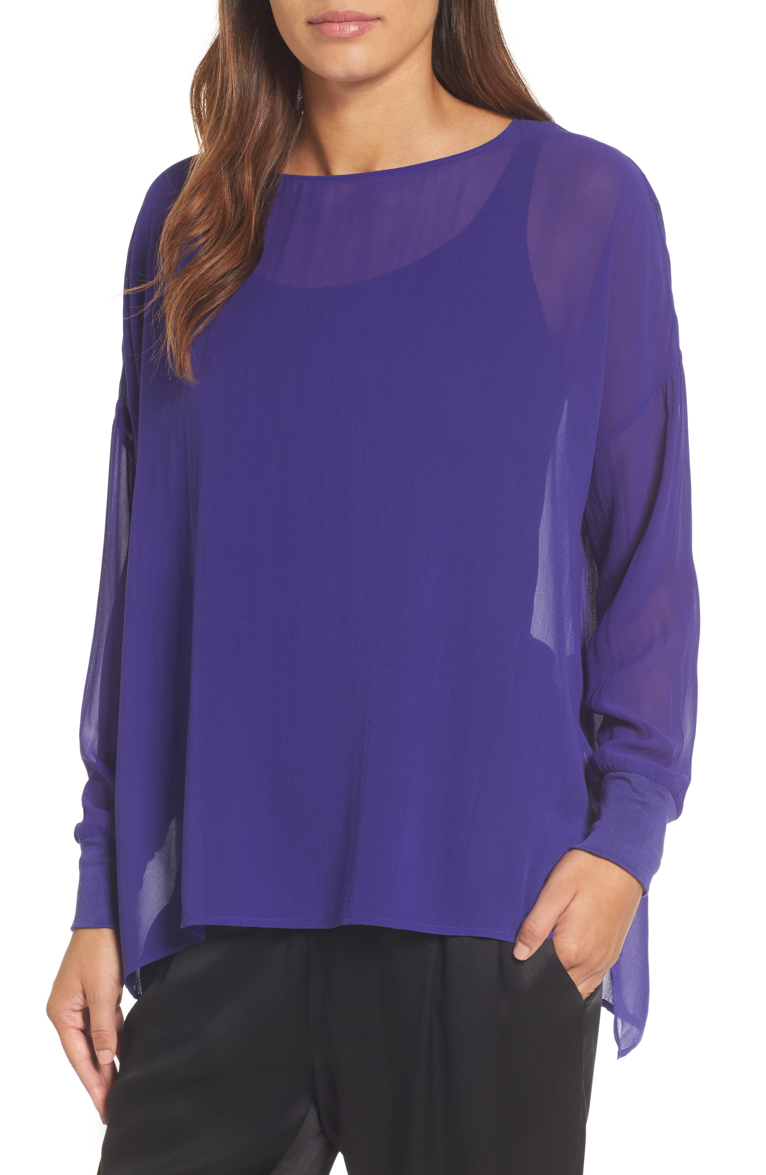 Alternate Image 1 Selected - Eileen Fisher Bateau Neck Silk Boxy Top