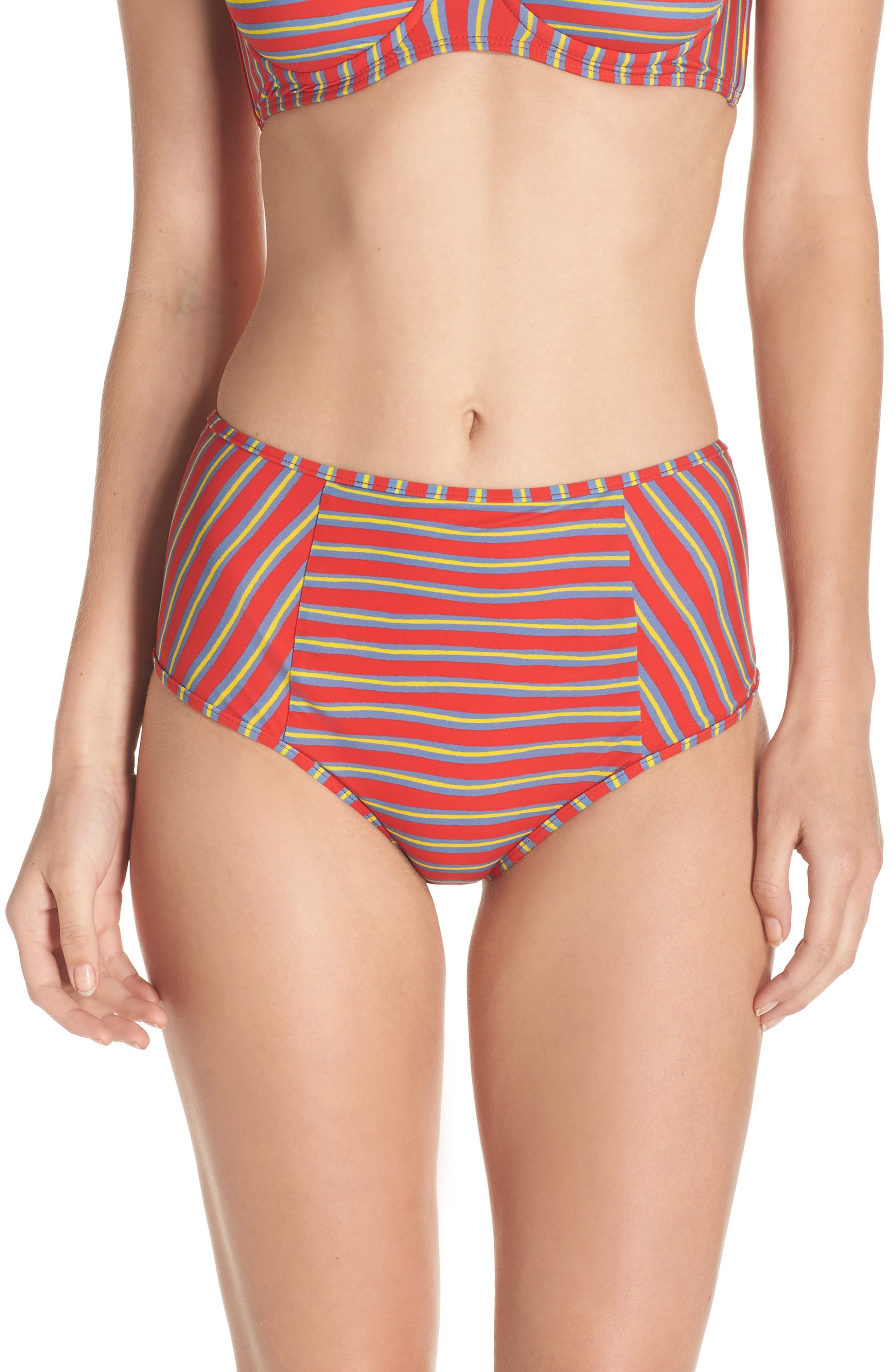 High Waist Swim Briefs,                             Main thumbnail 1, color,                             Bodin Stripe Bright Red