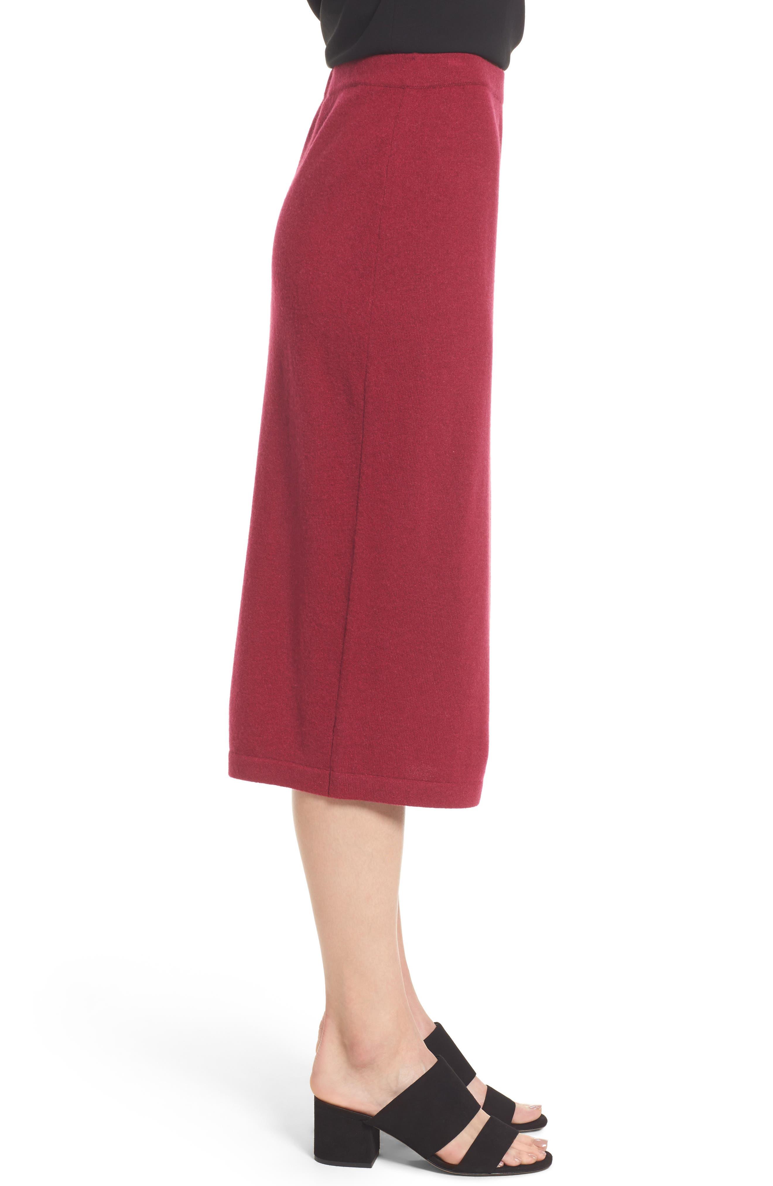 Cashmere Knit Pencil Skirt,                             Alternate thumbnail 3, color,                             Hibiscus