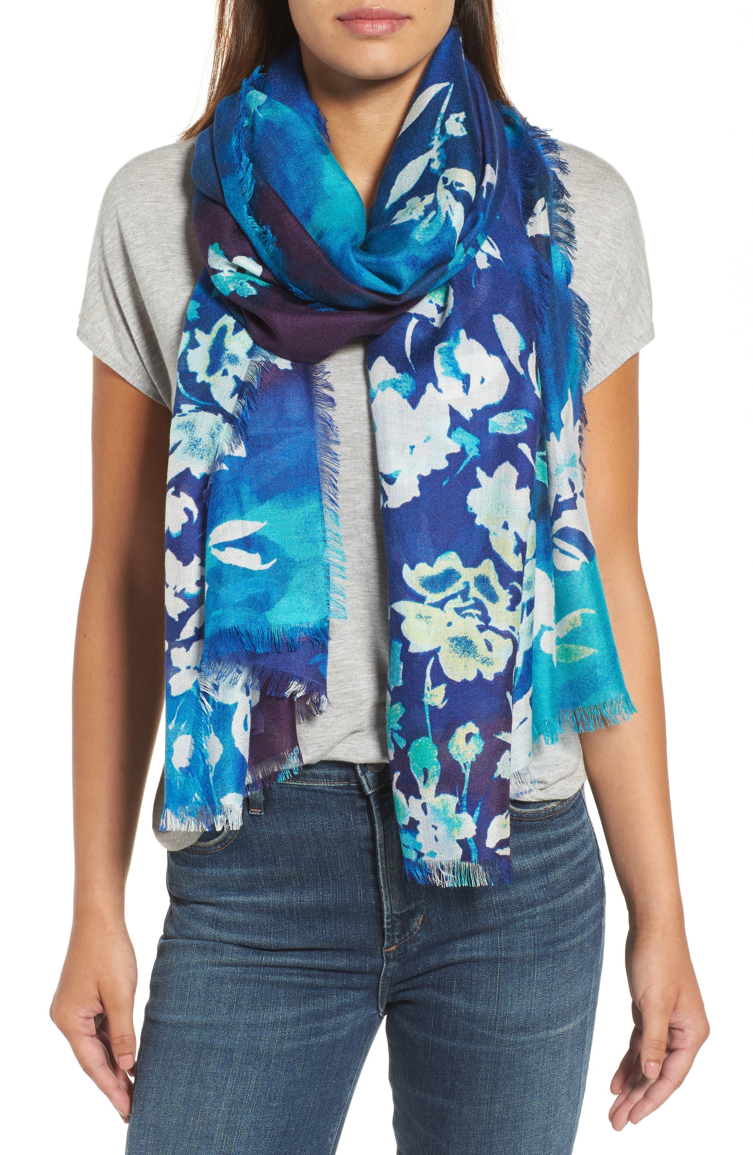 Alternate Image 1 Selected - Nordstrom Musical Flower Cashmere & Silk Scarf