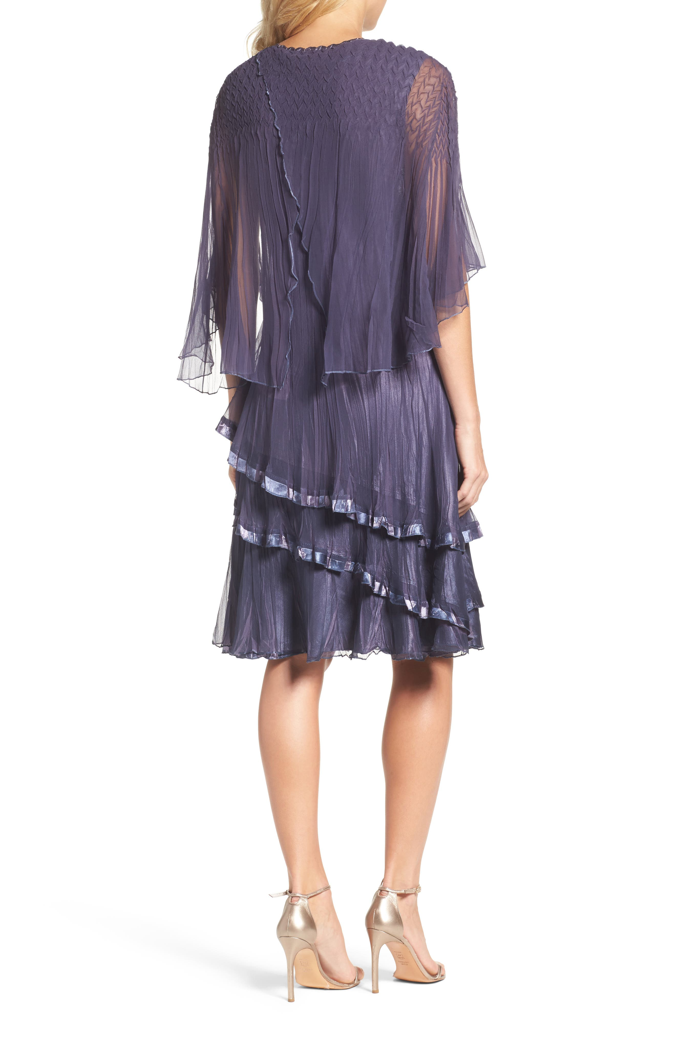 Cape Sleeve Tiered A-Line Dress,                             Alternate thumbnail 2, color,                             Purple Sage Blue