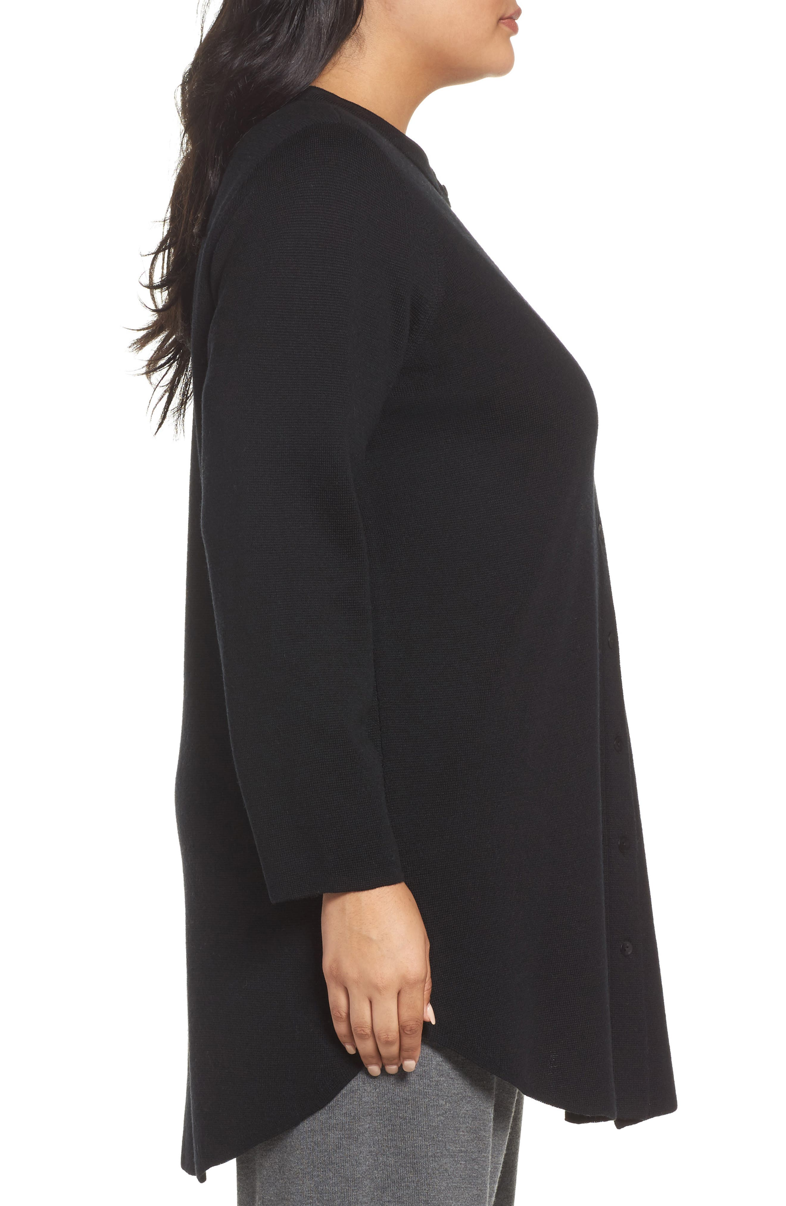 Alternate Image 3  - Eileen Fisher Mandarin Collar Merino Cardigan (Plus Size)