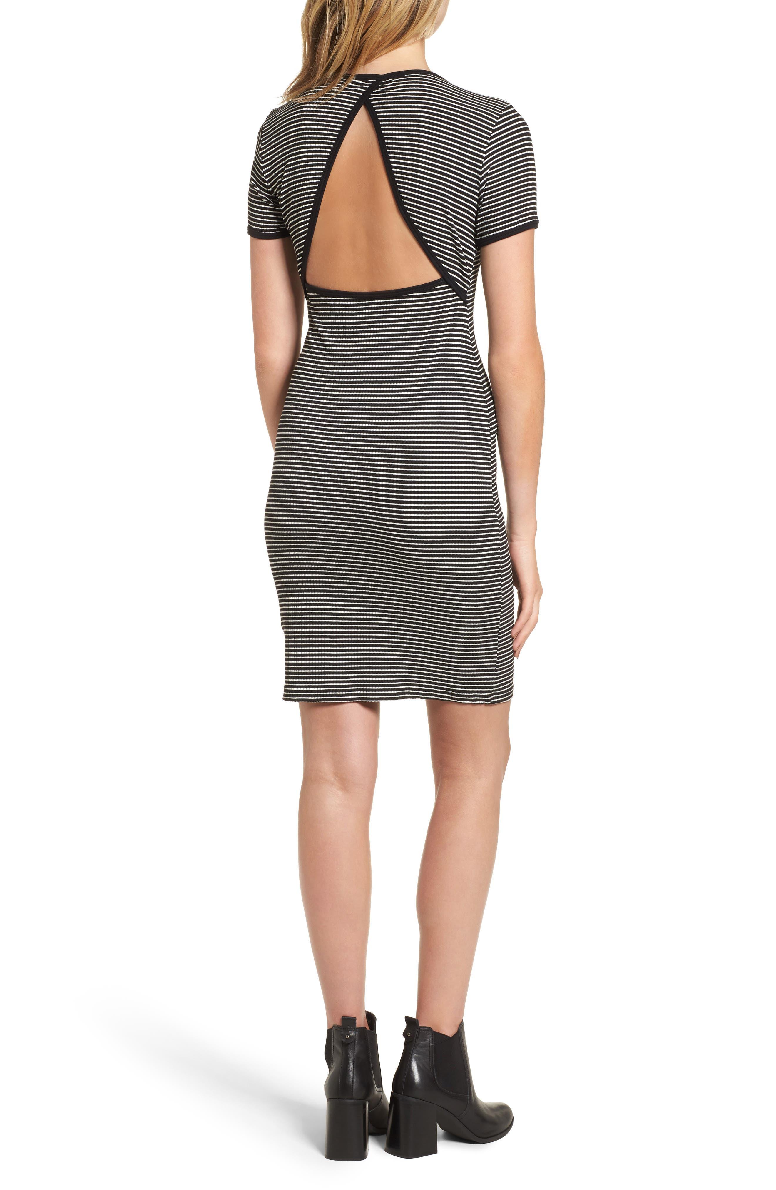 Cutout Stripe T-Shirt Dress,                             Alternate thumbnail 2, color,                             White/ Black
