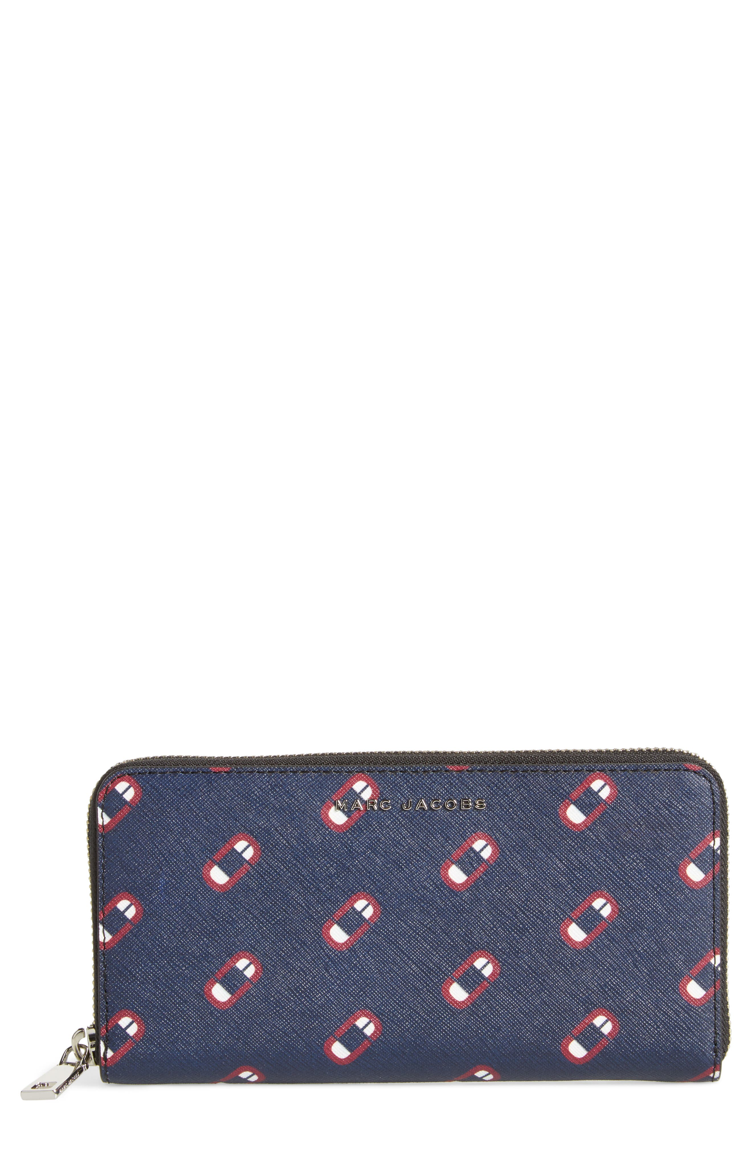 Scream Saffiano Leather Continental Wallet,                         Main,                         color, Navy Multi
