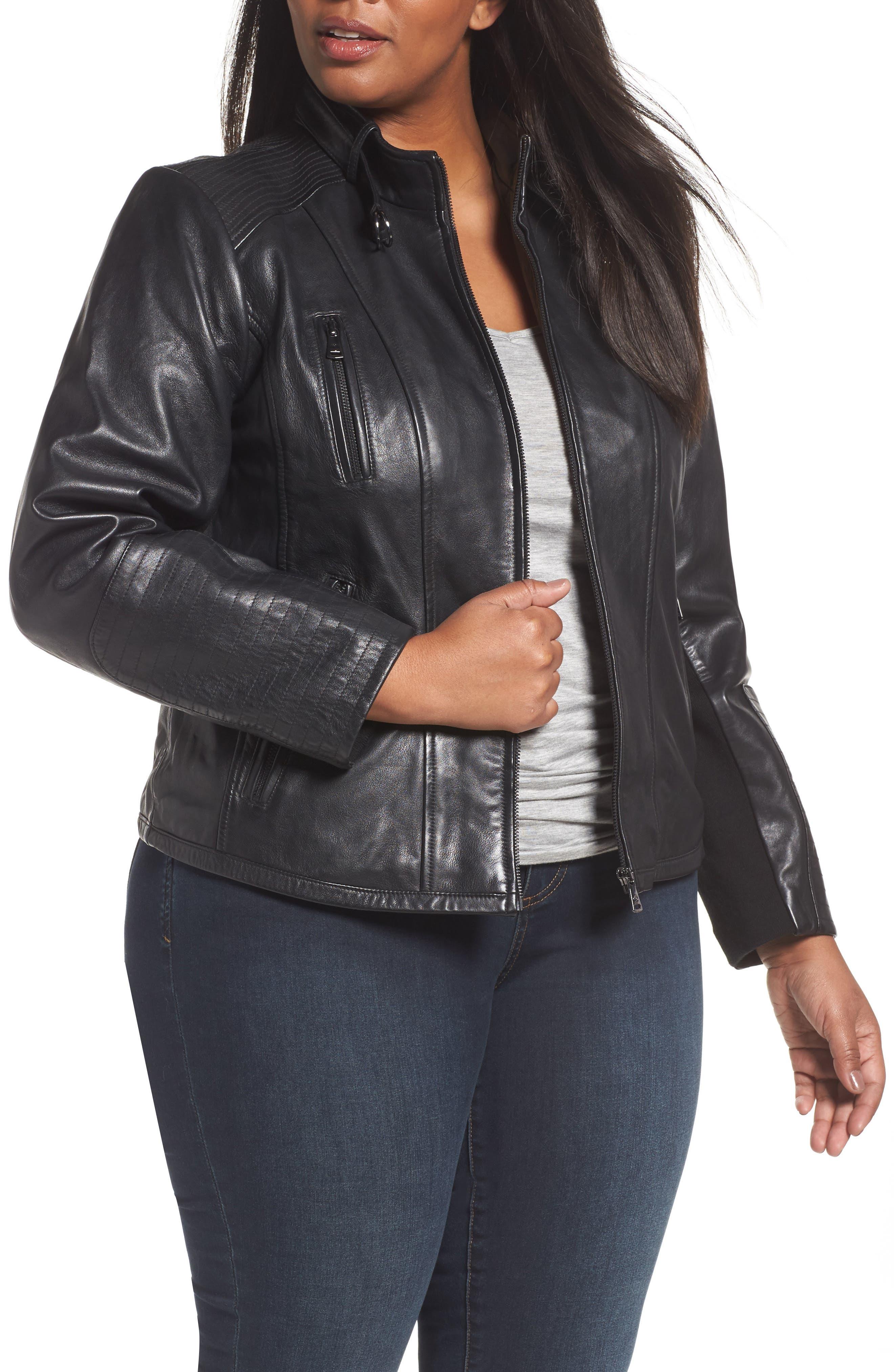 Main Image - Bernardo Leather Moto Jacket (Plus Size)