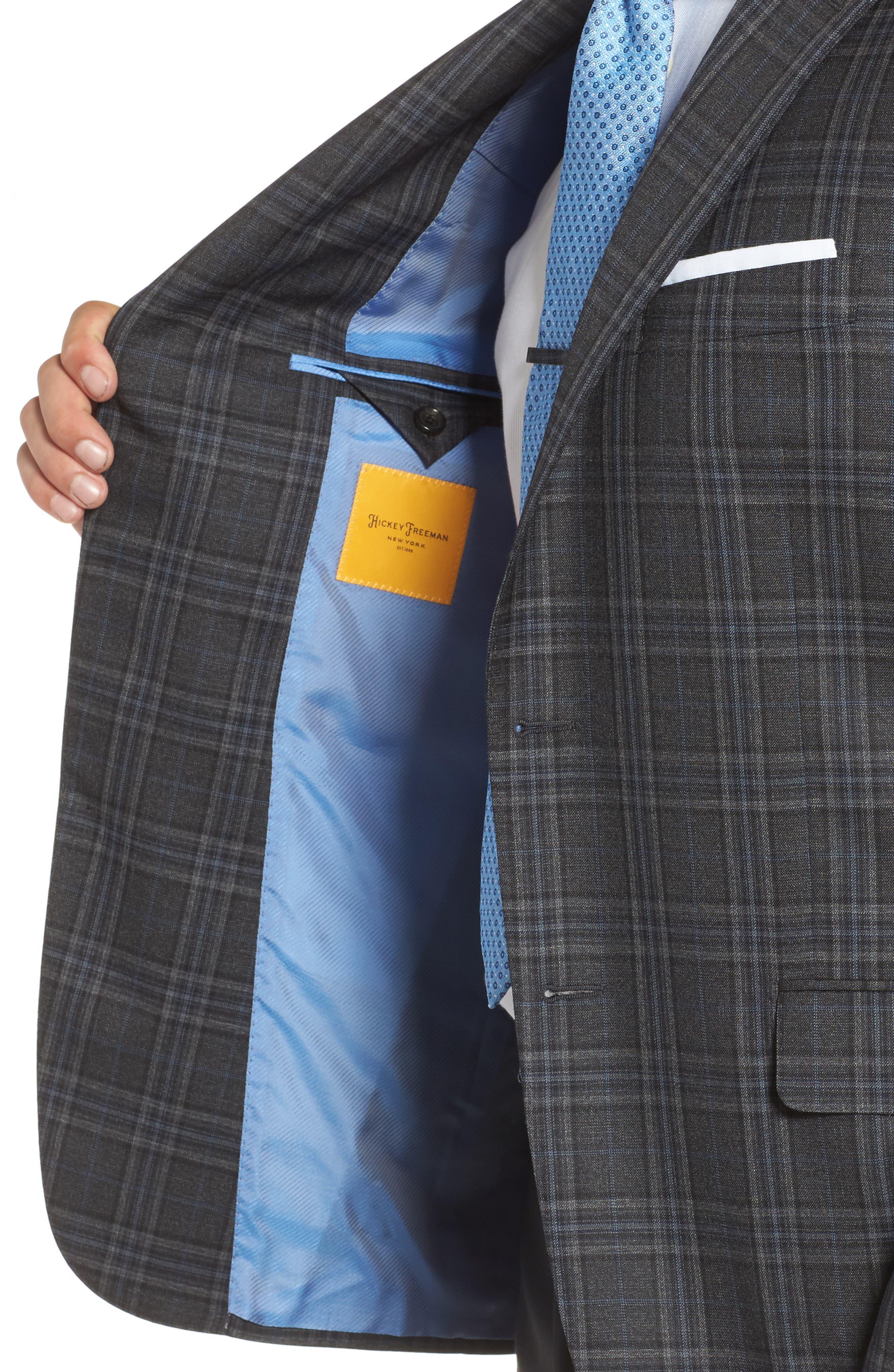 Classic B Fit Plaid Wool Sport Coat,                             Alternate thumbnail 4, color,                             Dark Grey