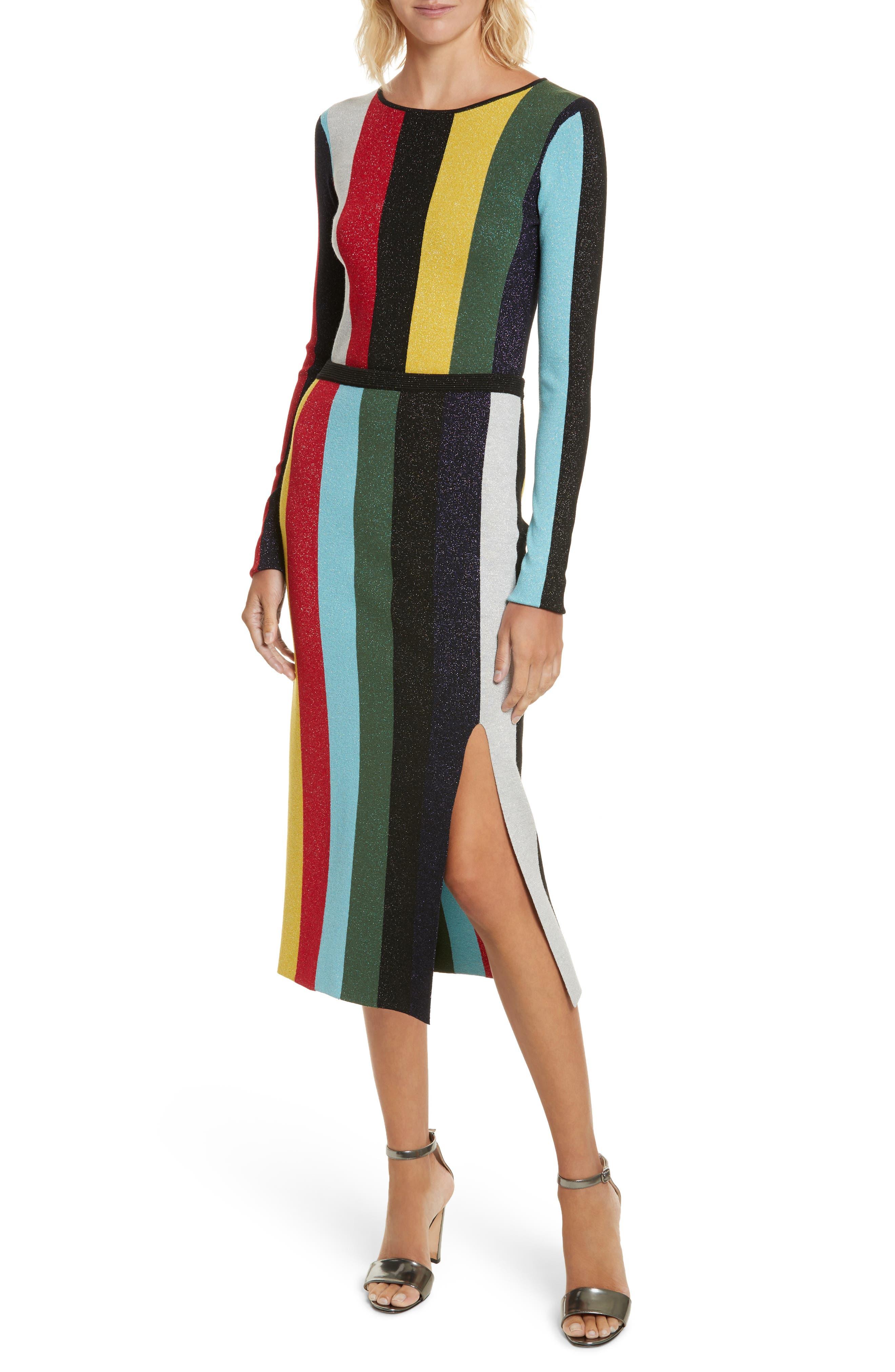 Metallic Stripe Knit Pencil Skirt,                             Alternate thumbnail 5, color,                             Orchid Multi