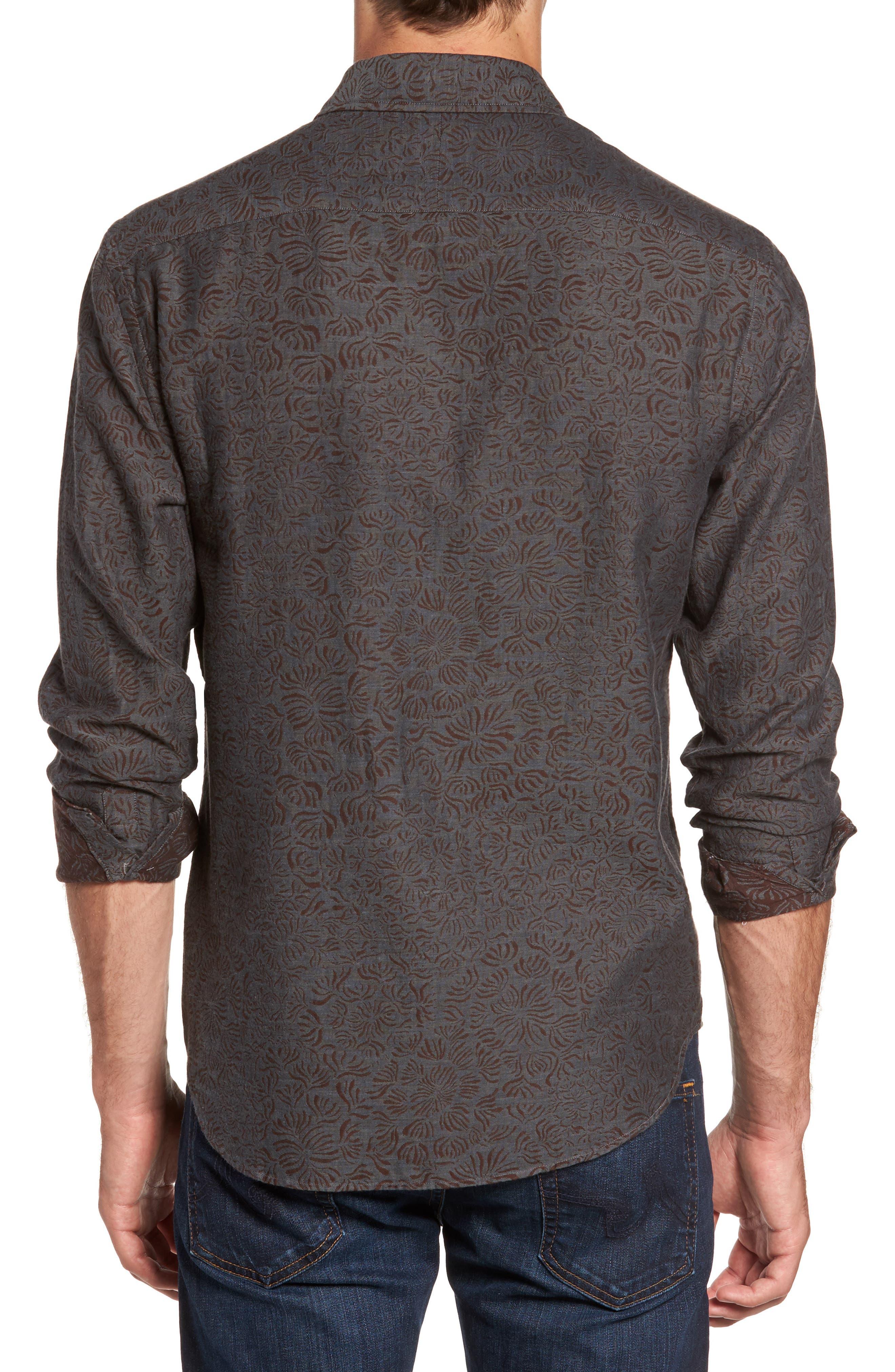 Kirby Slim Fit Jacquard Sport Shirt,                             Alternate thumbnail 2, color,                             Charcoal/ Burgundy