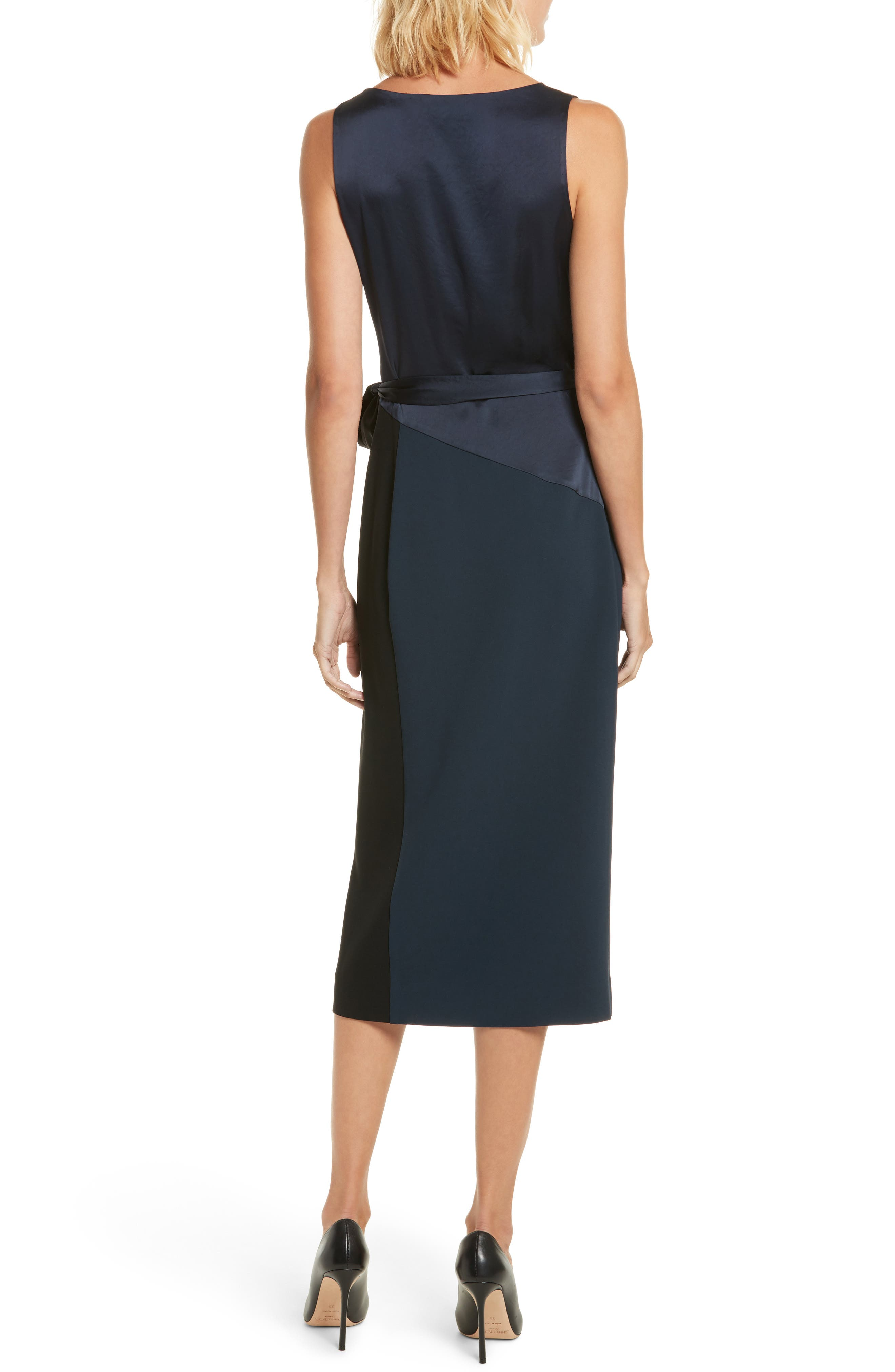 Midi Wrap Dress,                             Alternate thumbnail 2, color,                             Alexander Navy/ Black