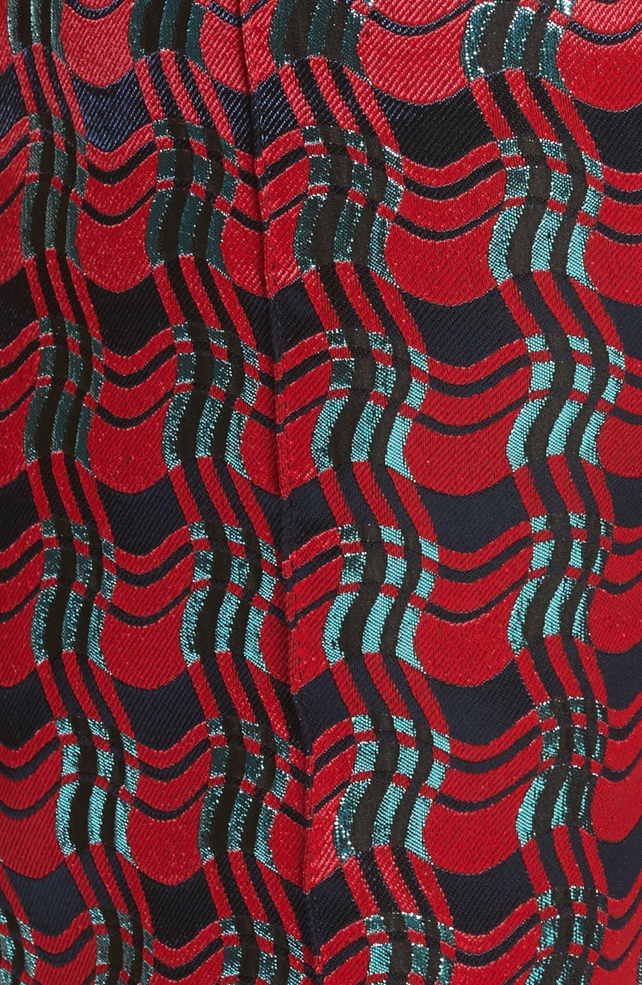 Pleat Front Jacquard Pants,                             Alternate thumbnail 5, color,                             Lipstick/ New Navy/ Marine